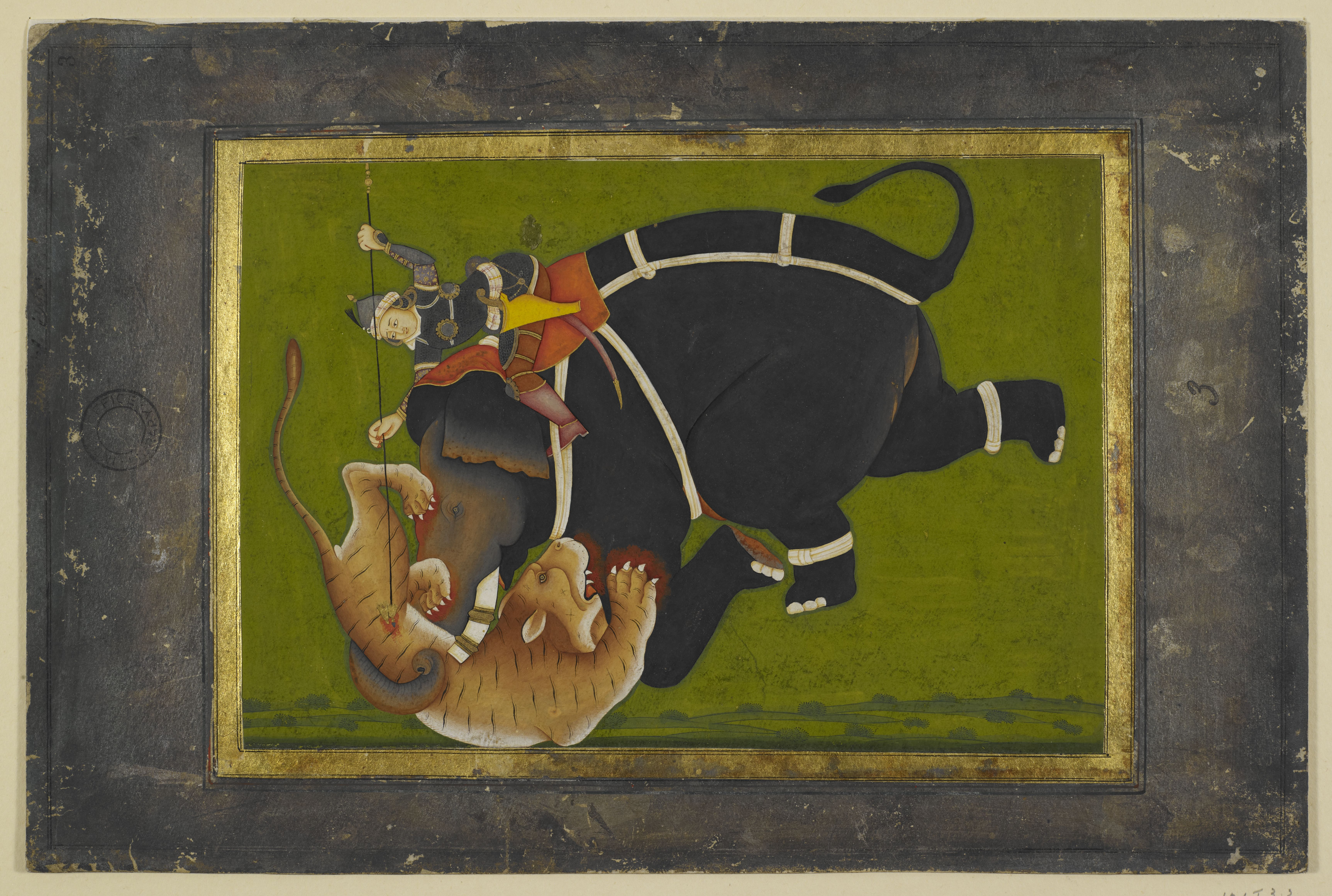 Elephant trampling a tiger on display in Mughal India c British Library Board