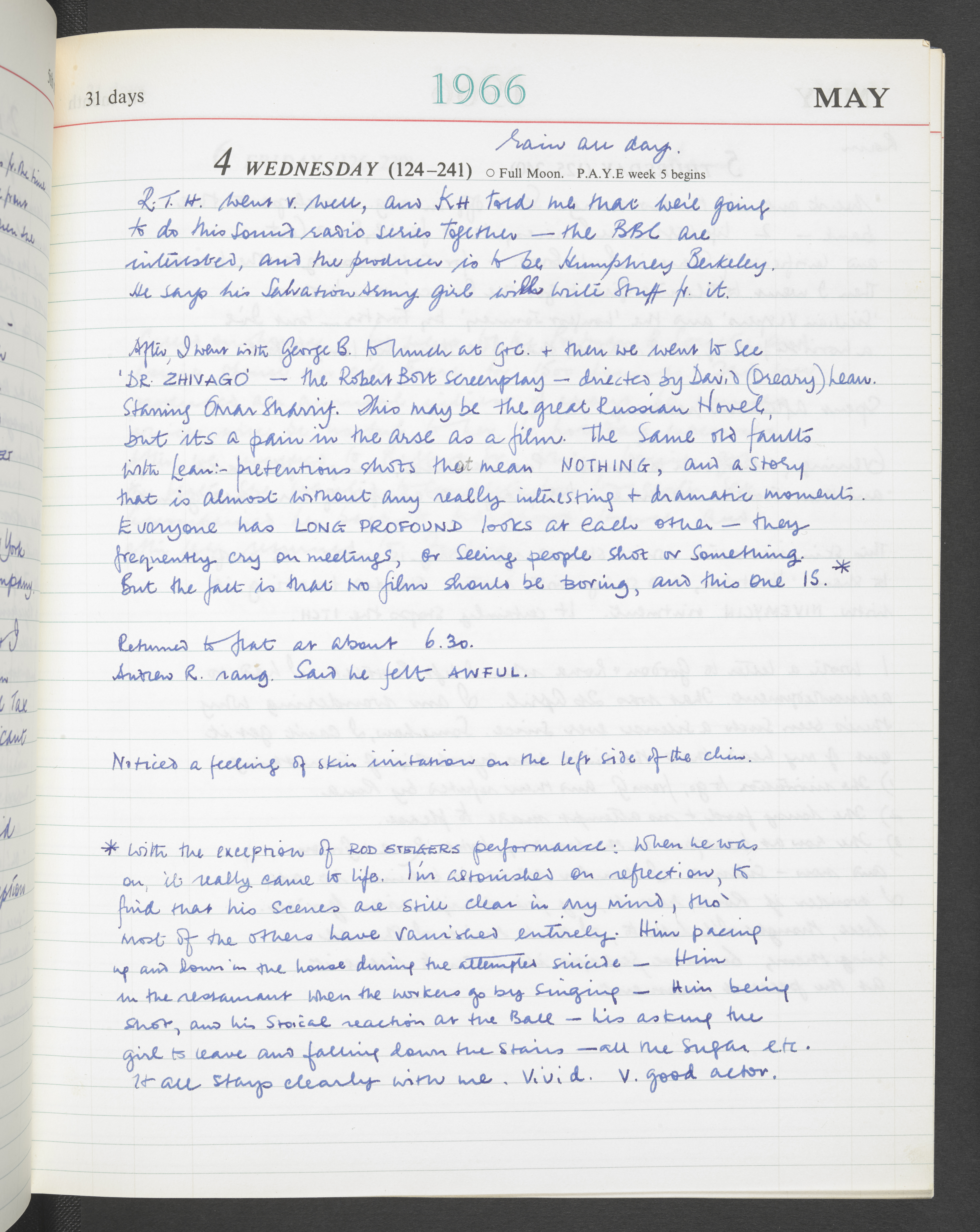 Page from Kenneth Williams' diary from 4 May 1966, courtesy of the Kenneth Williams estate