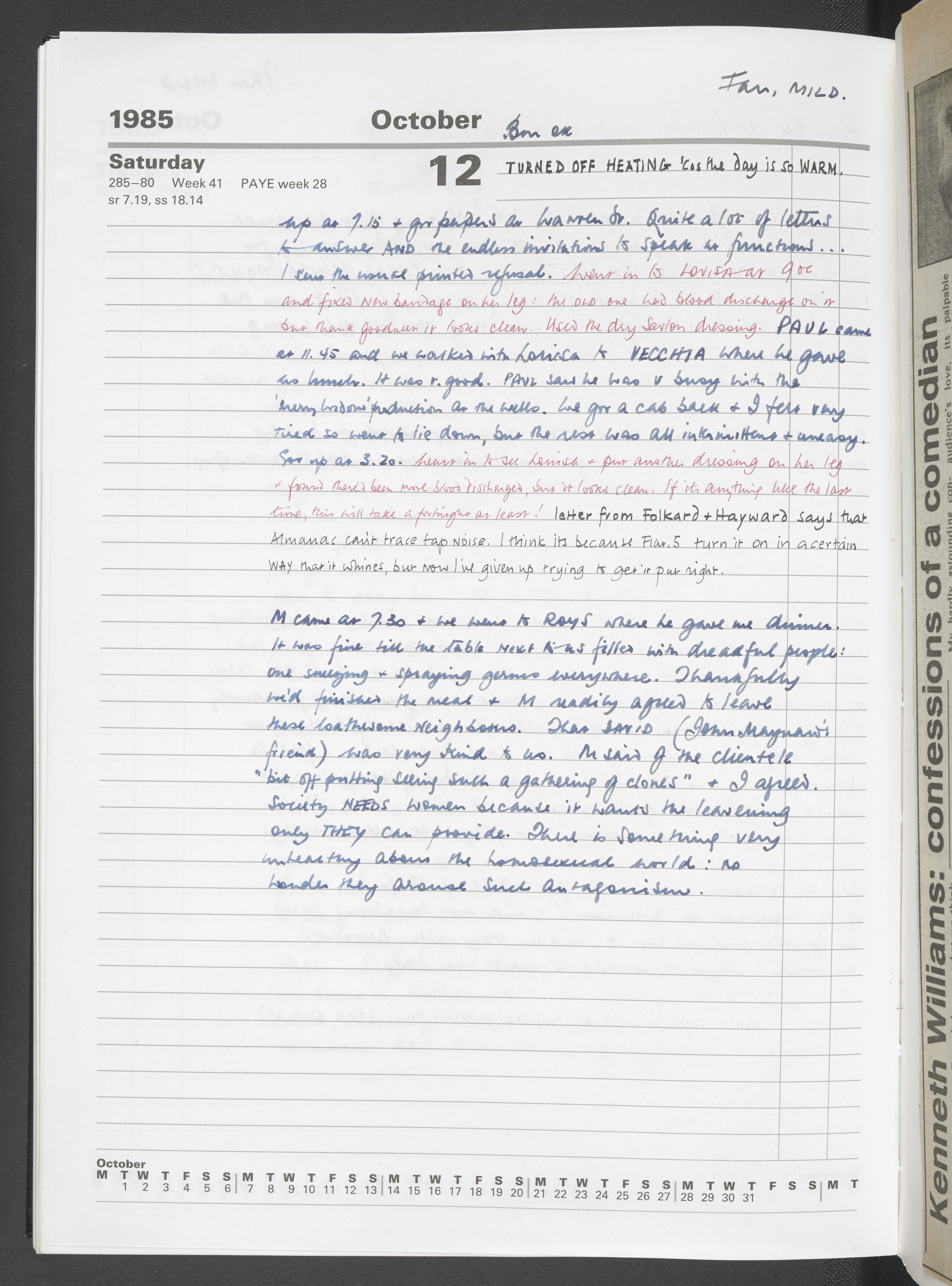Page from Kenneth Williams' diary from 12 October 1985, courtesy of the Kenneth Williams estate
