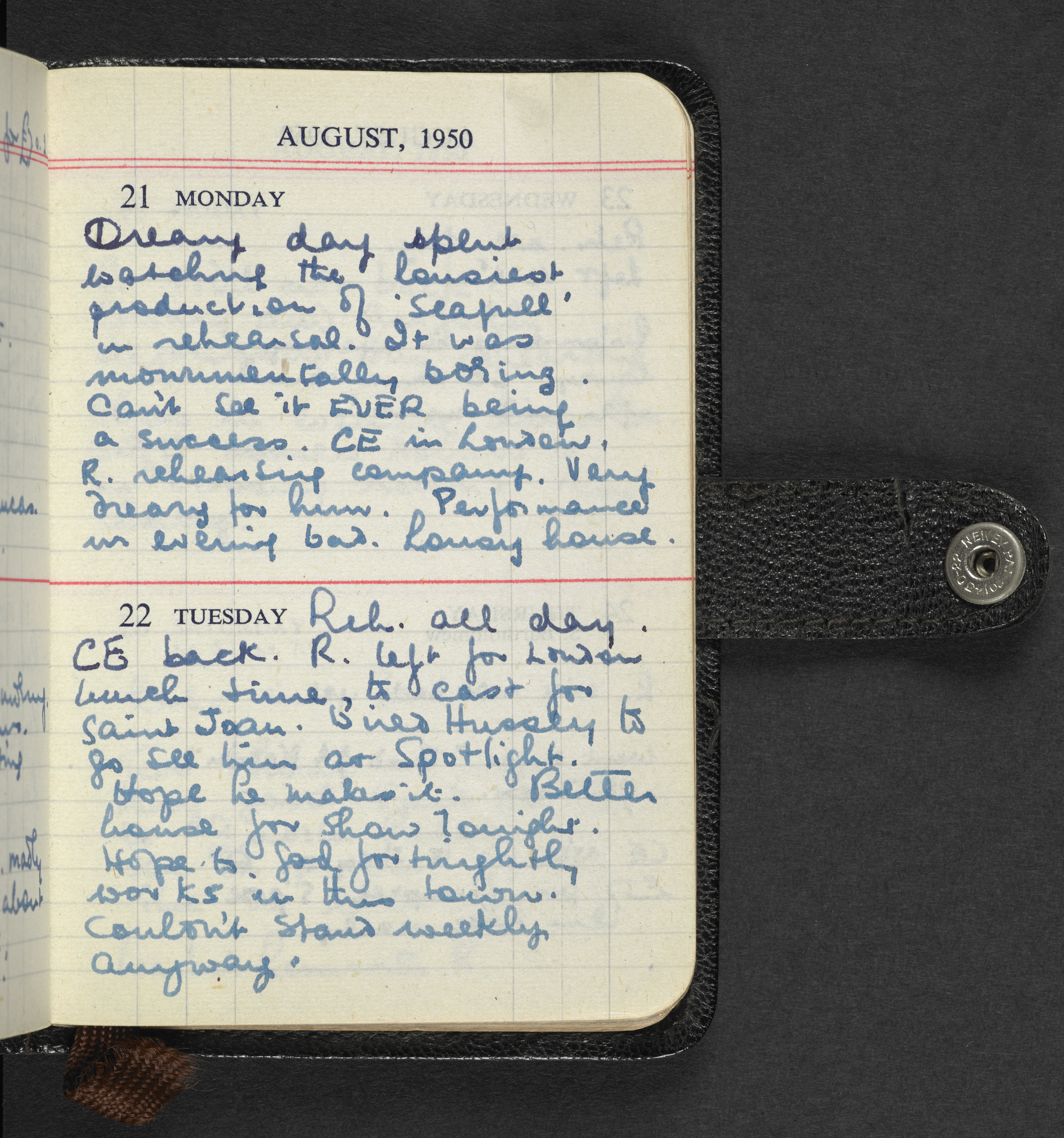 Page from Kenneth Williams' diary from 21 August 1950, courtesy of the Kenneth Williams estate