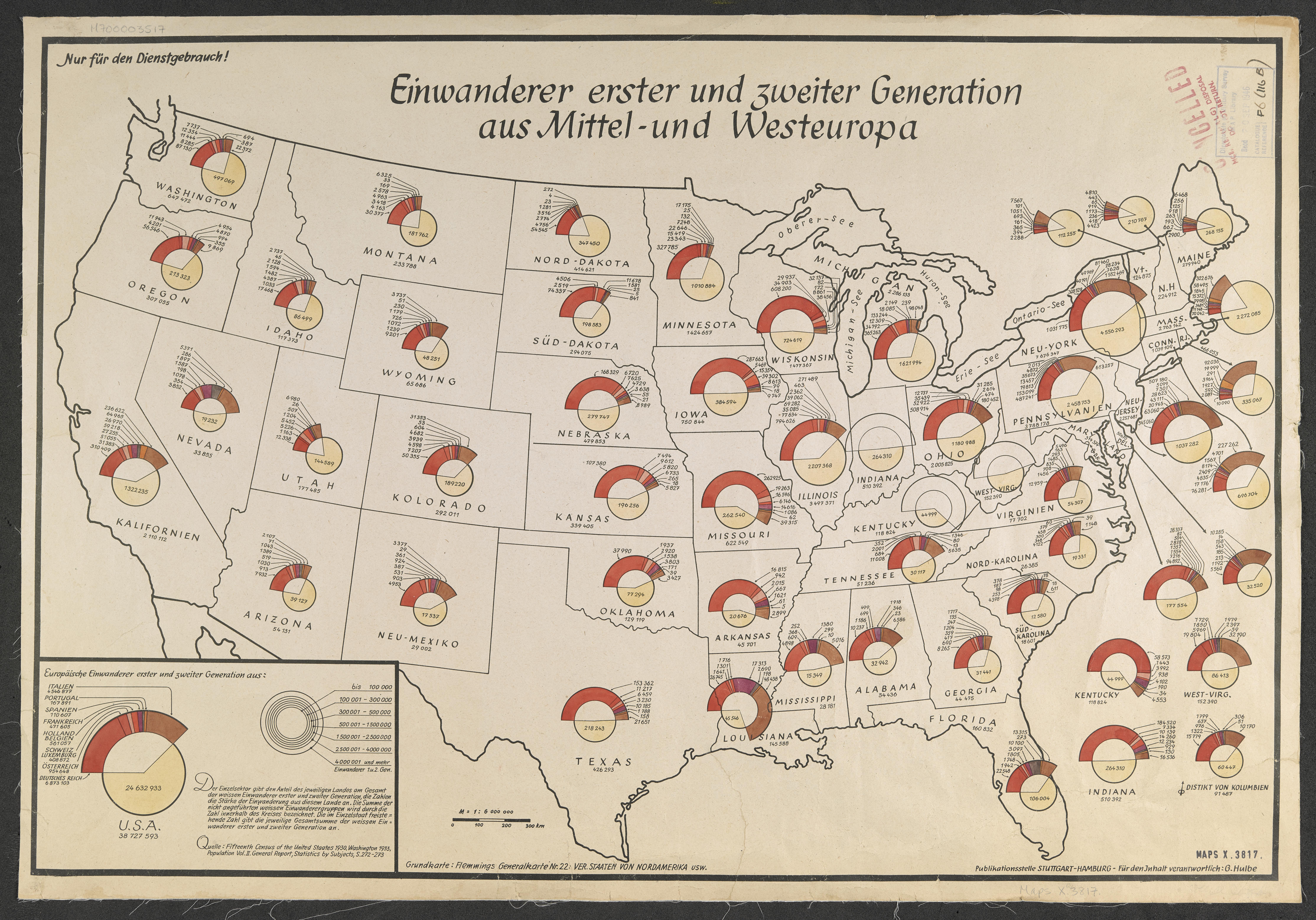 G. Hulbe, Einwanderer erster und zweiter Generation aus Mittel- und Westeuropa, Stuuttgart-Hamburg, c.1940 on display in '20th Century through Maps'