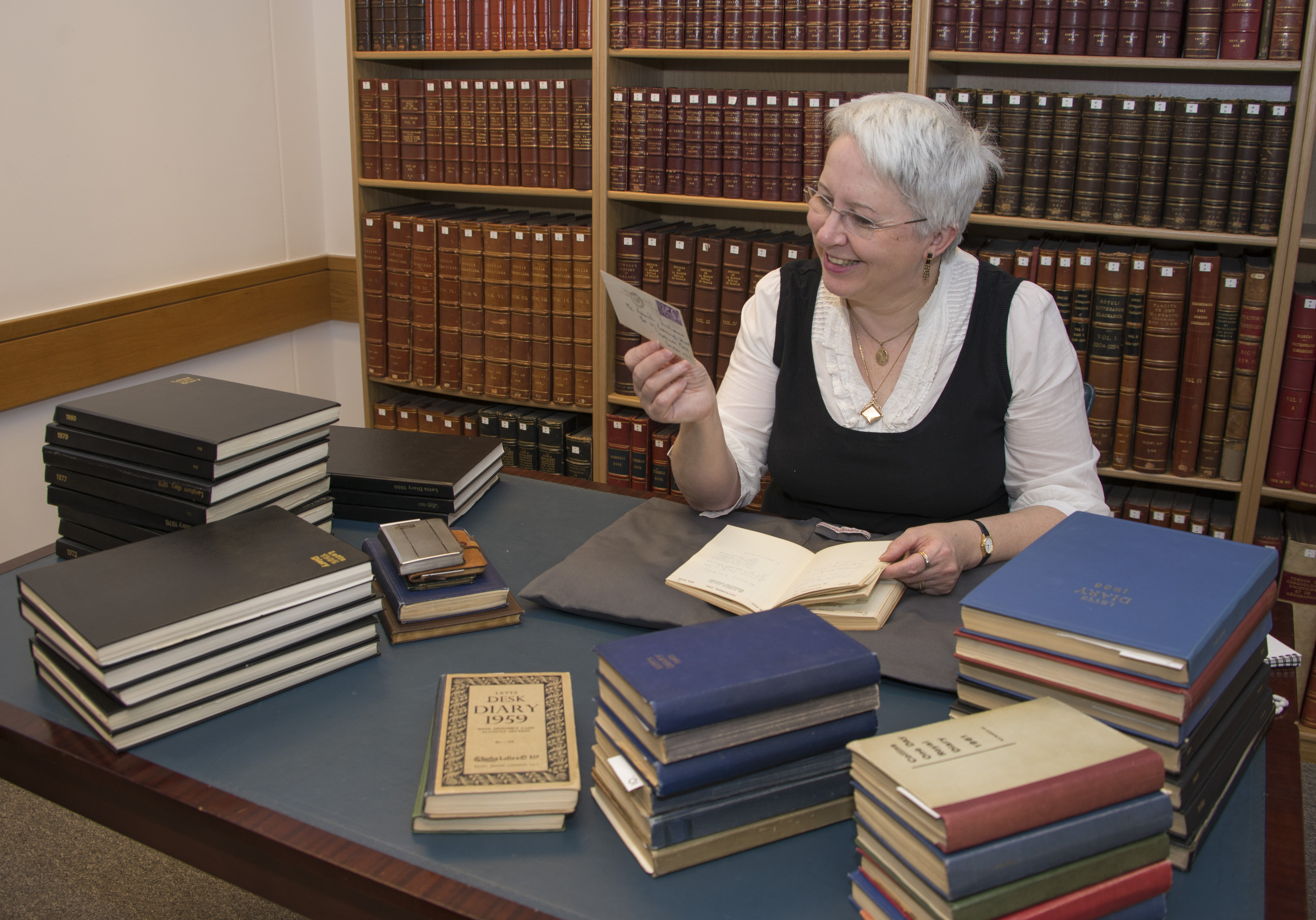 Curator Kathryn Johnson from the British Library examines the Kenneth Williams archive (Photo by Elizabeth Hunter)