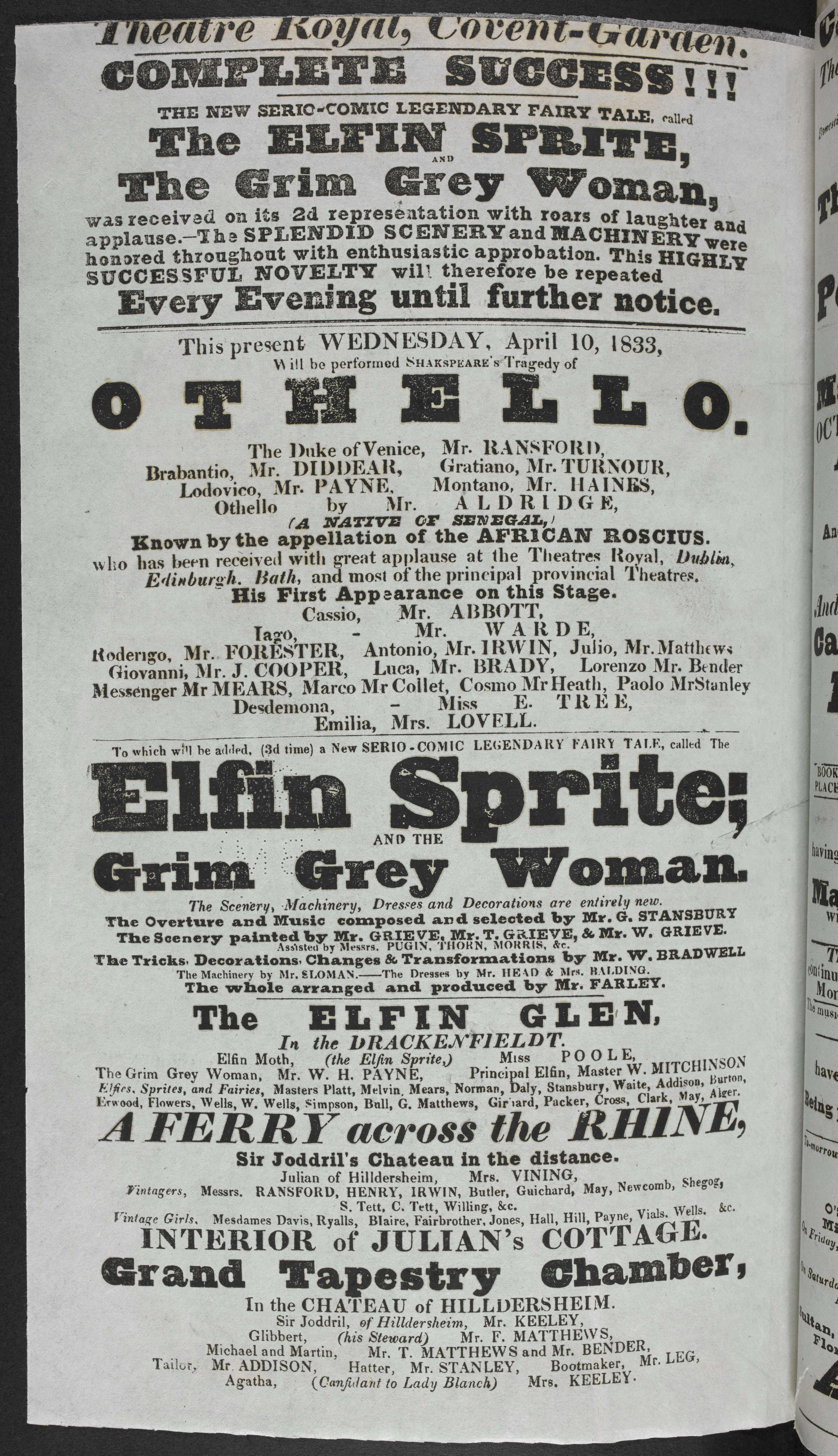 Playbill for Ira Aldridge's performance as Othello at the Theatre Royal, Covent Garden, 10 April 1833 to go on display in 'Shakespeare in Ten Acts'