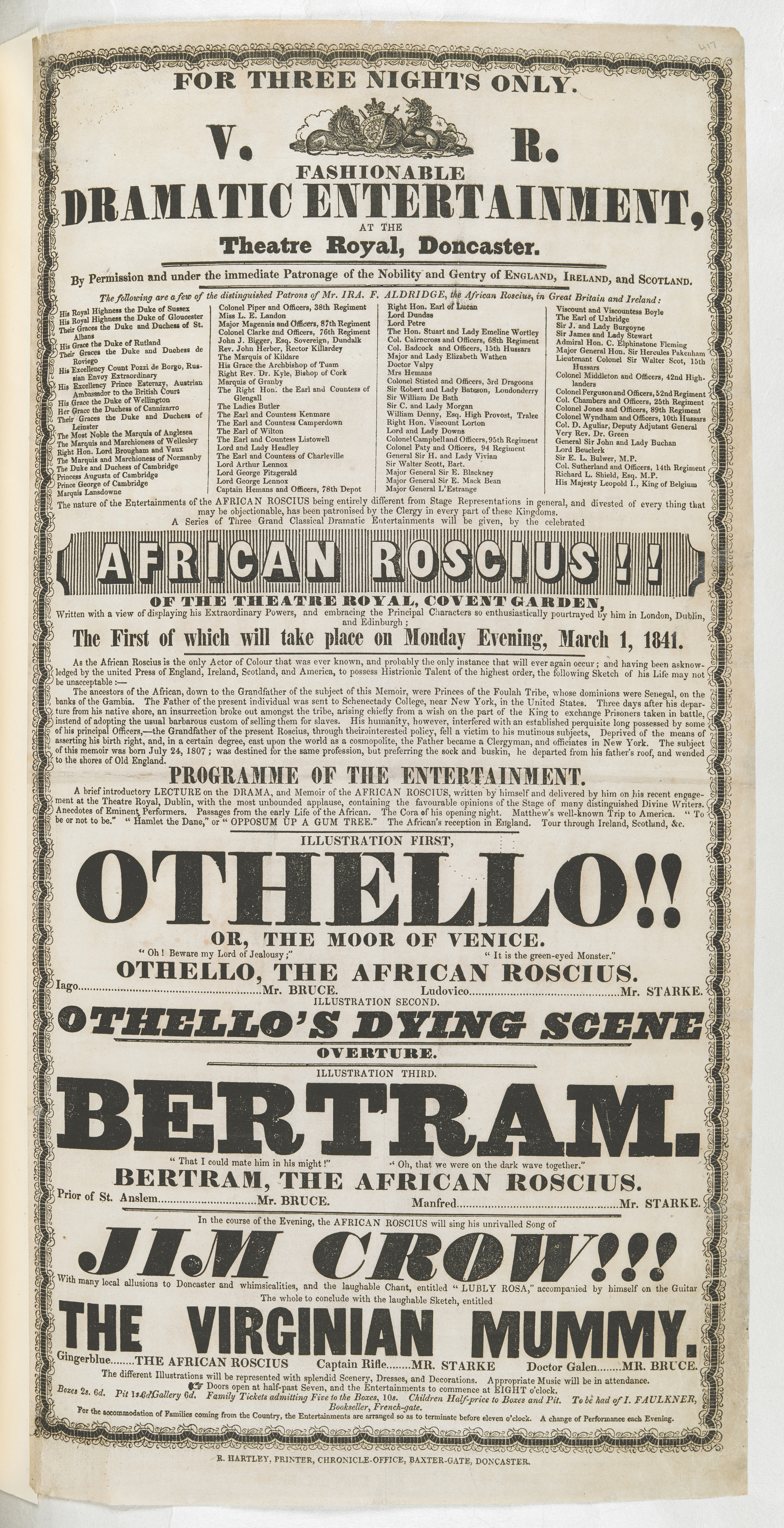 Playbill for Ira Aldridge's performance at Doncaster, 1 March 1841 to go on display in 'Shakespeare in Ten Acts'