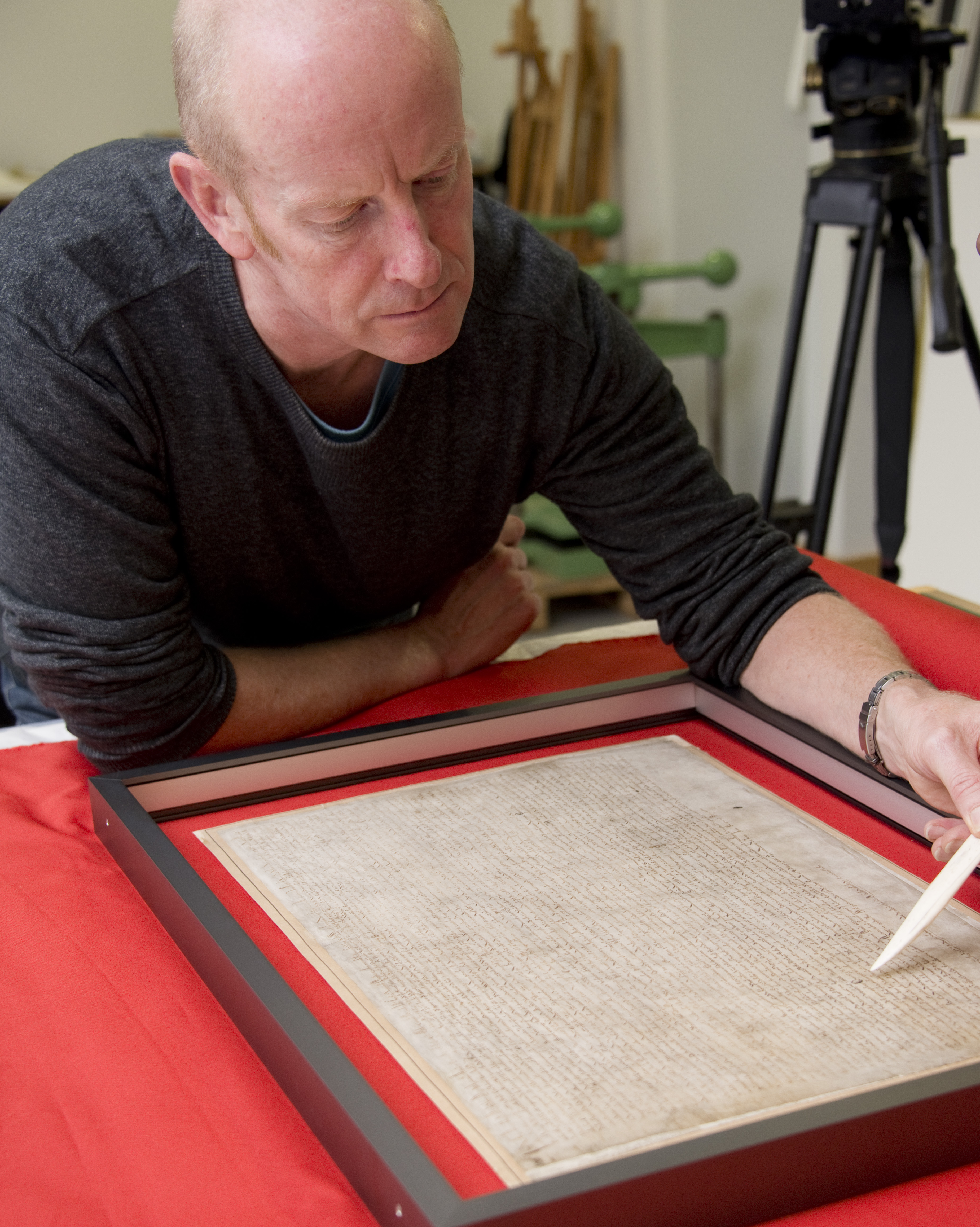 One of the British Library's Magna Carta manuscripts being prepared for anniversary display in the Library's Conservation Centre.