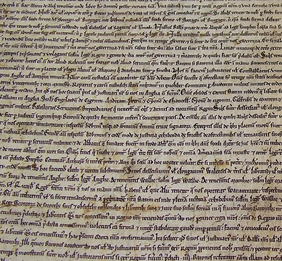 Salisbury Cathedral's Magna Carta manuscript, 1215, part of the Library's unification event in February 2015.