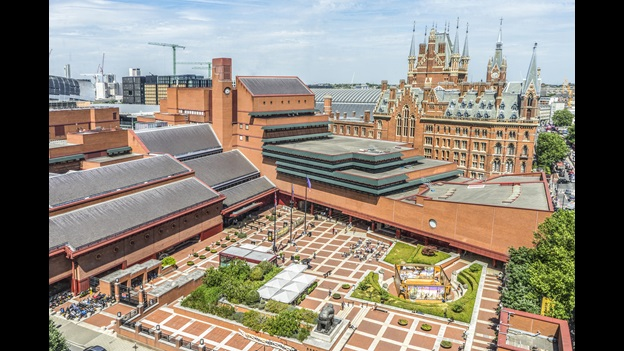 Aerial shot of the British Library at St Pancras. Photo credit: Tony Antoniou.