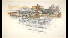 Drawing of the new British Library at St Pancras, viewed from Ossulston Street. Drawing by Colin St John Wilson circa 1991.