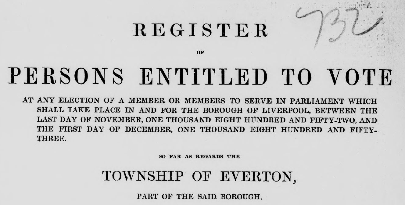 Electoral register - Borough of Liverpool, 1852 Everton