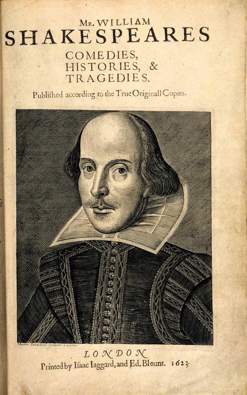 Title page, Shakespeare's First Folio (shelfmark: G.11631), London 1623. Image courtesy of the British Library