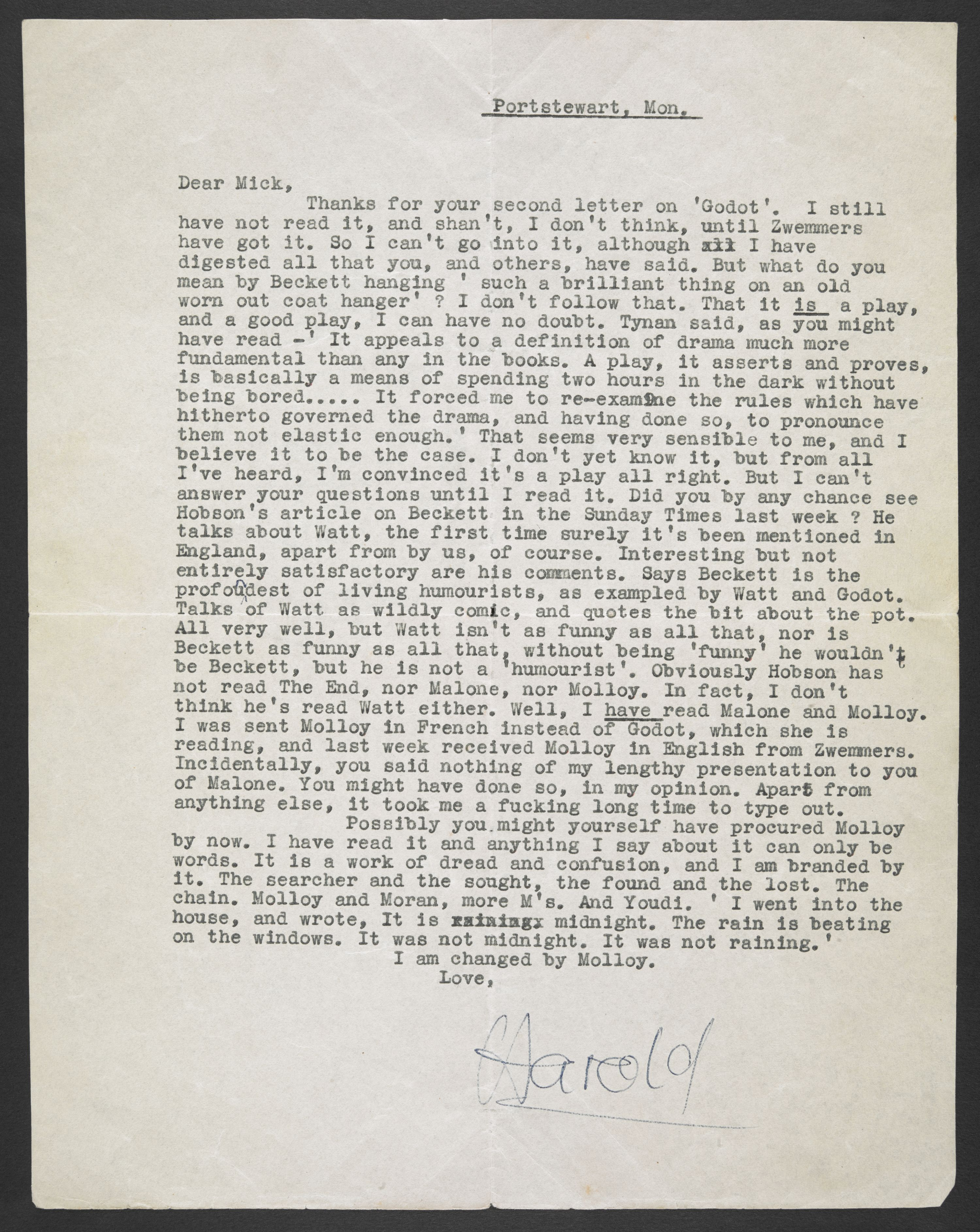 A letter signed by Harold Pinter from 1955, acquired by the British Library. Courtesy of the Estate of Harold Pinter