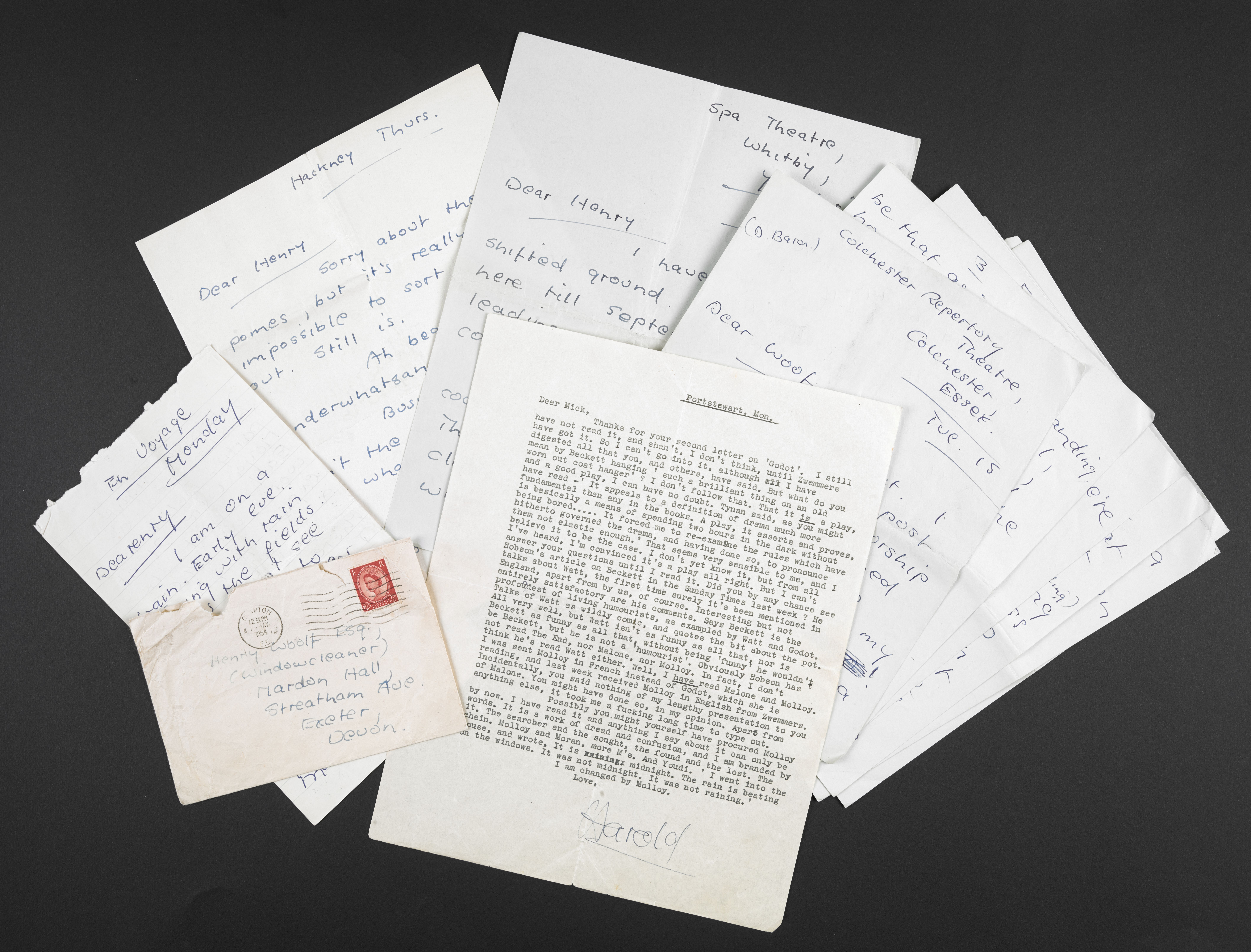 A selection of Harold Pinter's early letters acquired by the British Library. Courtesy of the Estate of Harold Pinter