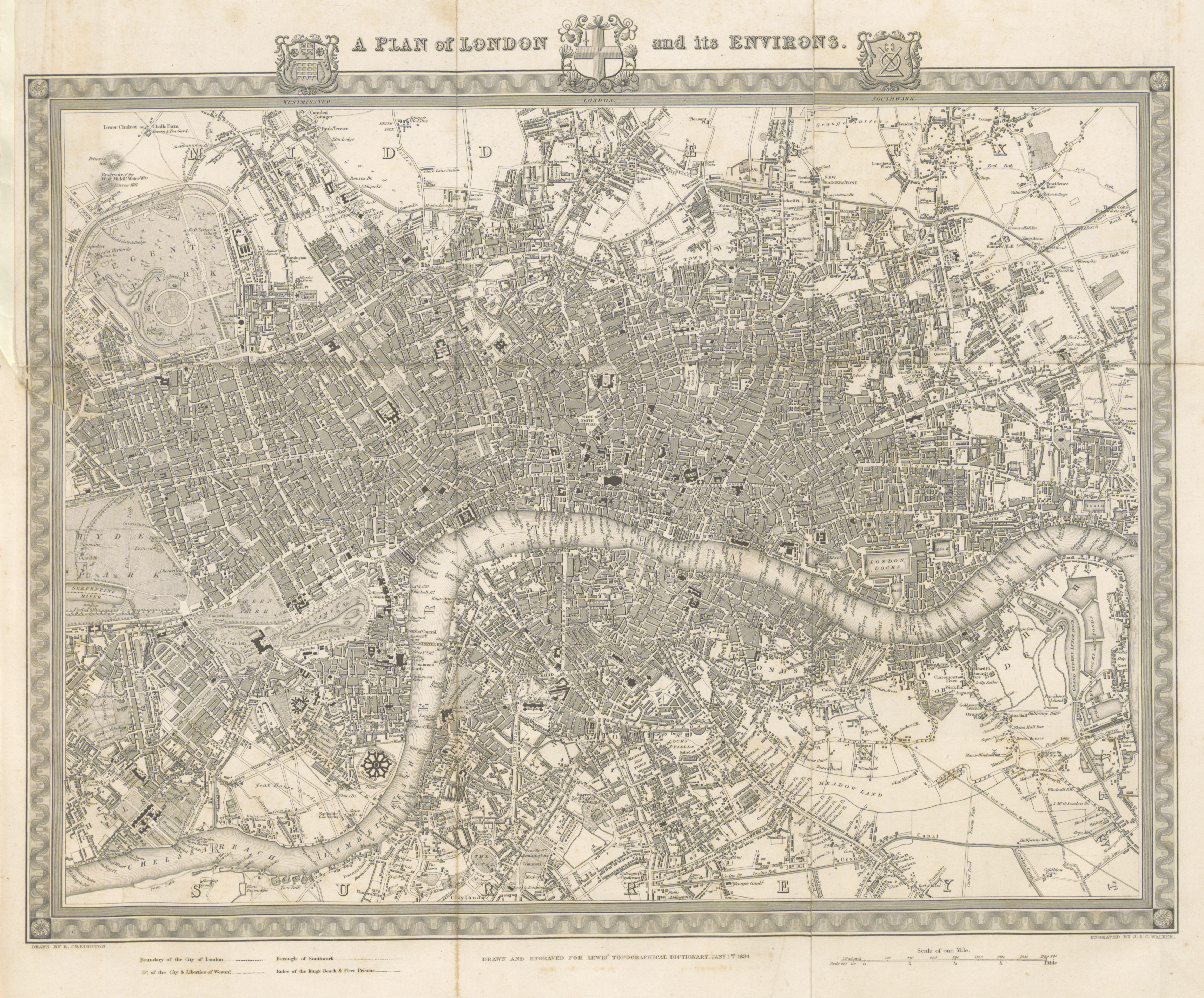 'A plan of London and its Environs' from 'A Topographical Dictionary of England', 1834. Open Licence (CC-PD)