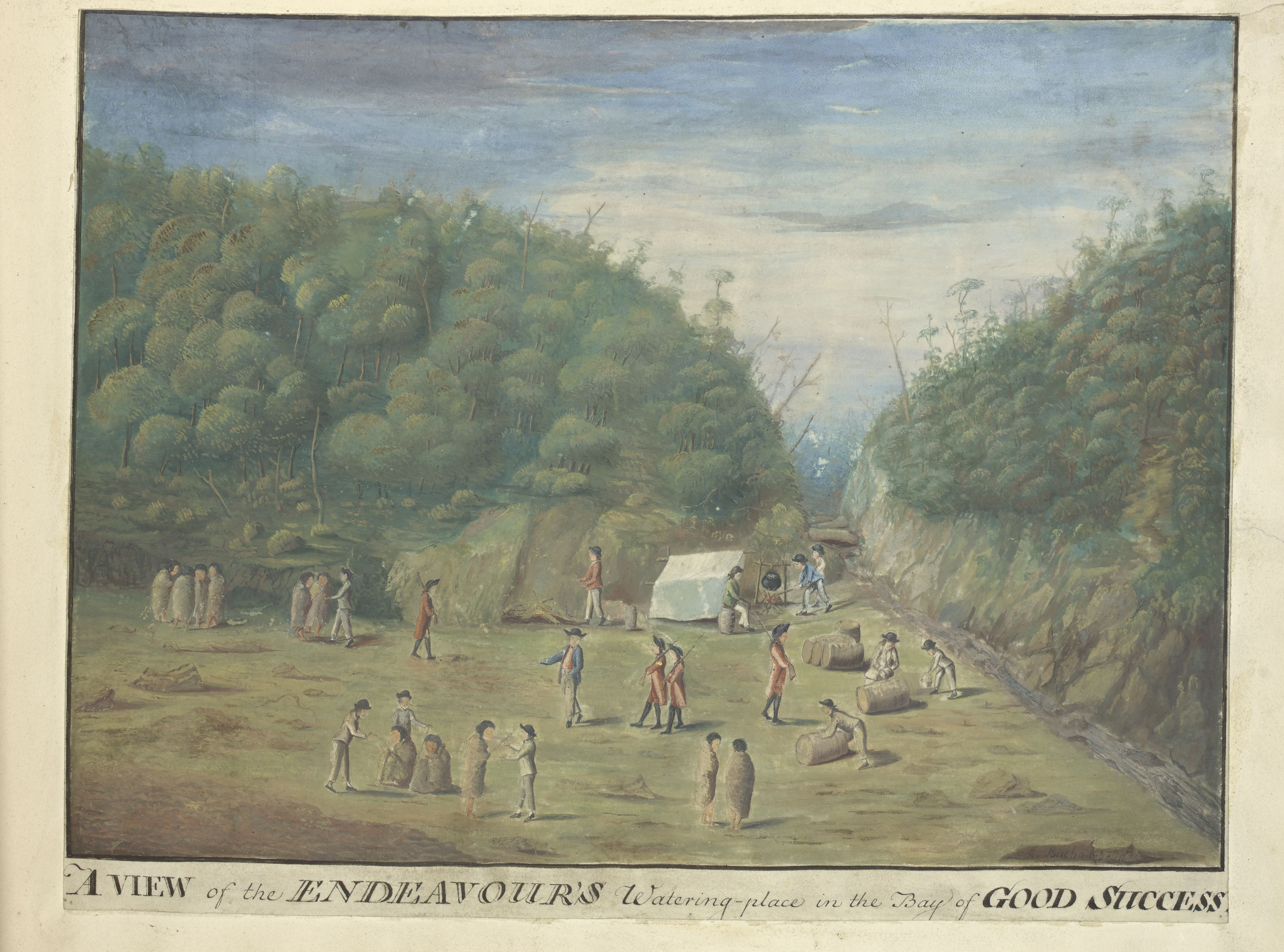 'A View of the Endeavour's Watering Place in the Bay of Good Success' by Alexander Buchan, 1769 (c) British Library Board