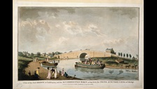 A view of the first Bridge at Paddington and the Accommodation Barge going down the Grand Junction Canal to Uxbridge on display in Georgians Revealed   The British Library Board