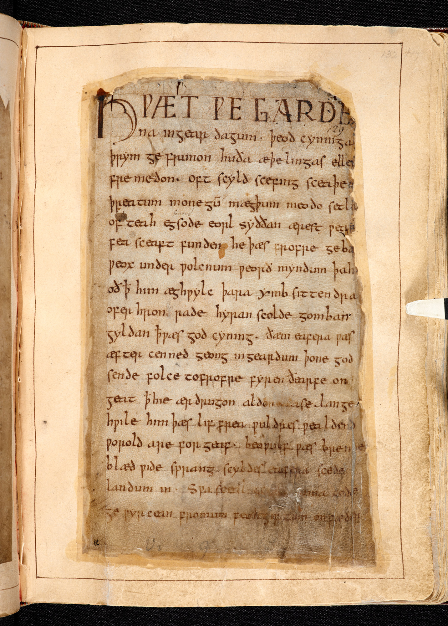 The single surviving manuscript of Beowulf, the longest epic poem in Old English (Cotton MS Vitellius A.XV) (c) British Library Board