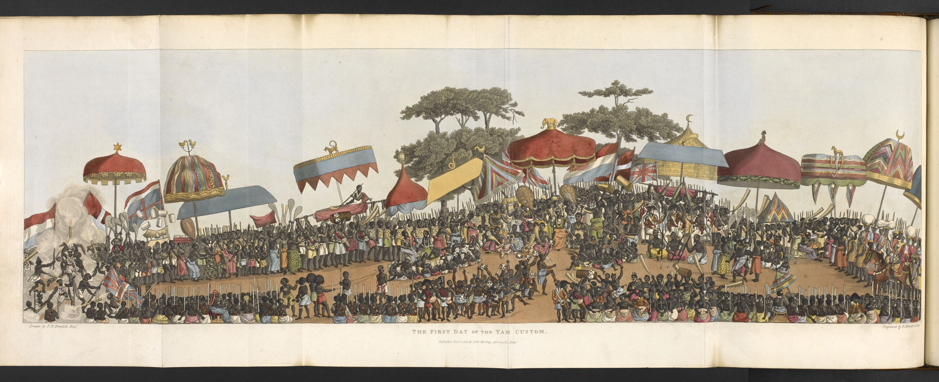 Illustration of the 'first day of the yam festival' in Thomas Edward Bowdich's, Mission from Cape Coast Castle to Ashantee (1819) going on display in West Africa: Word, Symbol, Song. Photograph courtesy of the British Library.