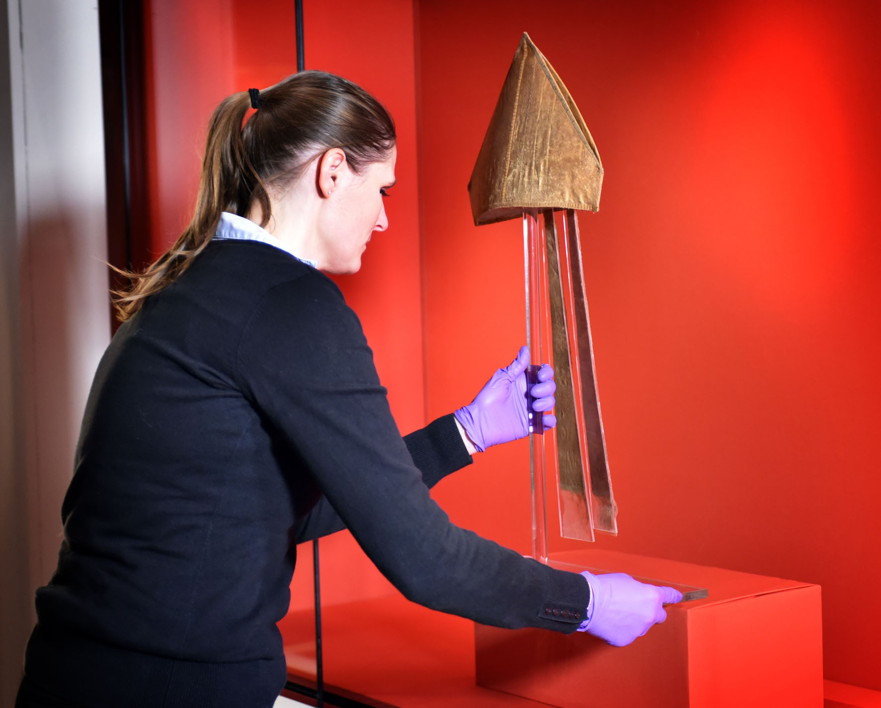 The 800 year old mitre of Archbishop Walter, on loan from Canterbury Cathedral, going on display in Magna Carta: Law Liberty Legacy at the British Library. Photography © Clare Kendall.