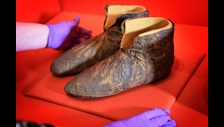 The slippers of Archbishop Walter on loan from Canterbury Cathedral going on display in Magna Carta: Law, Liberty, Legacy at the British Library. Photography © Clare Kendall.