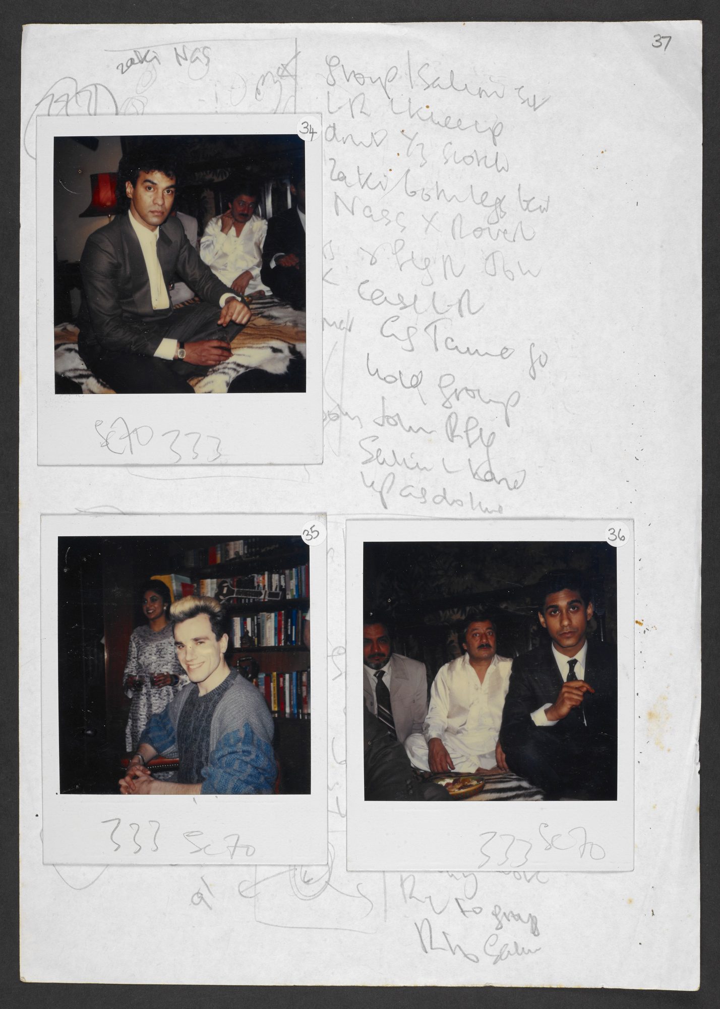 Continuity and costume notes for My Beautiful Launderette with polaroids, 1985 (c) Hanif Kureishi and Penny Eyles