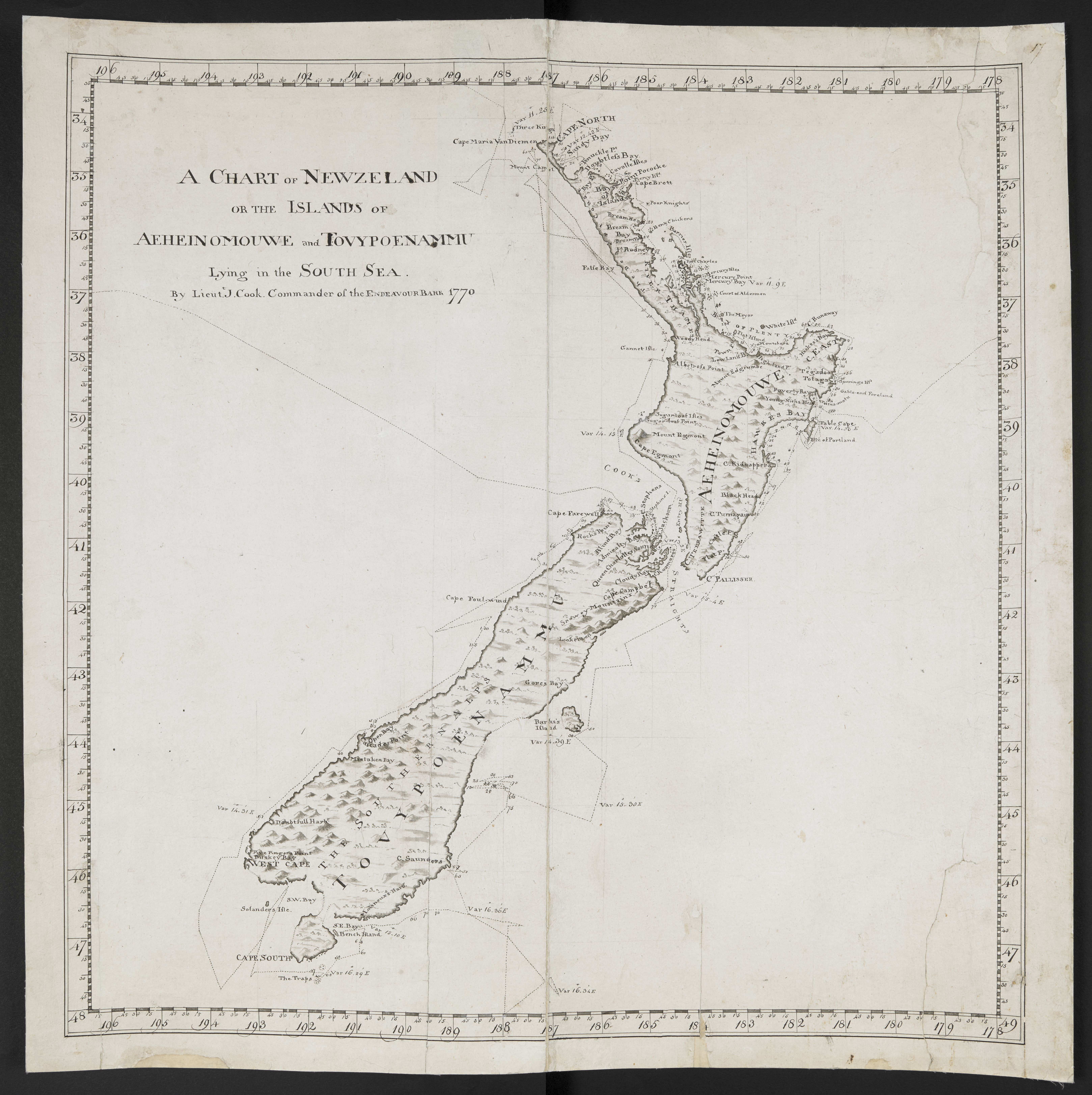 Cook's Chart of New Zealand (c) British Library Board