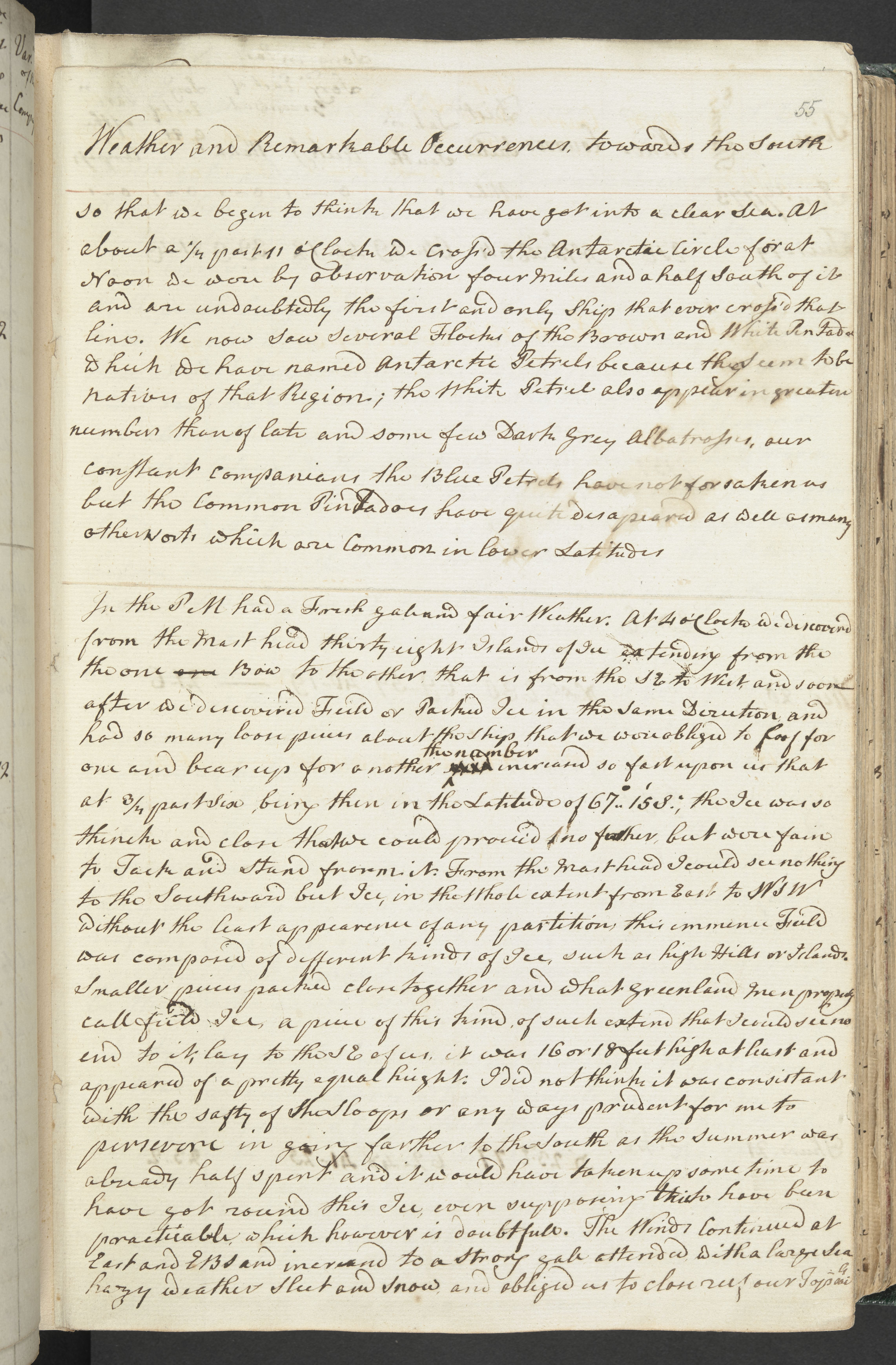 Cook's journal entry describing first crossing of Antarctic Circle, 17 January 1773 (c) British Library Board