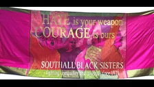 Unfinished Business: Southall Black Sisters banner 'Hate is your Weapon' 2018 Credit: Designed by Shakila Taranum Maan and kindly loaned by Southall Black Sisters