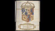Elizabeth and Mary: The arms of Mary, Queen of Scots and the Dauphin Francis, and of Scotland, France, and England, sent from France July 1559, © British Library Board, Cotton MS Caligula B X, ff. 17v-18r.