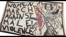 Unfinished Business: Southall Black Sisters banner 'Women March Against Male Violence' 1986 Credit: Designed by Shakila Taranum Maan and kindly loaned by Southall Black Sisters