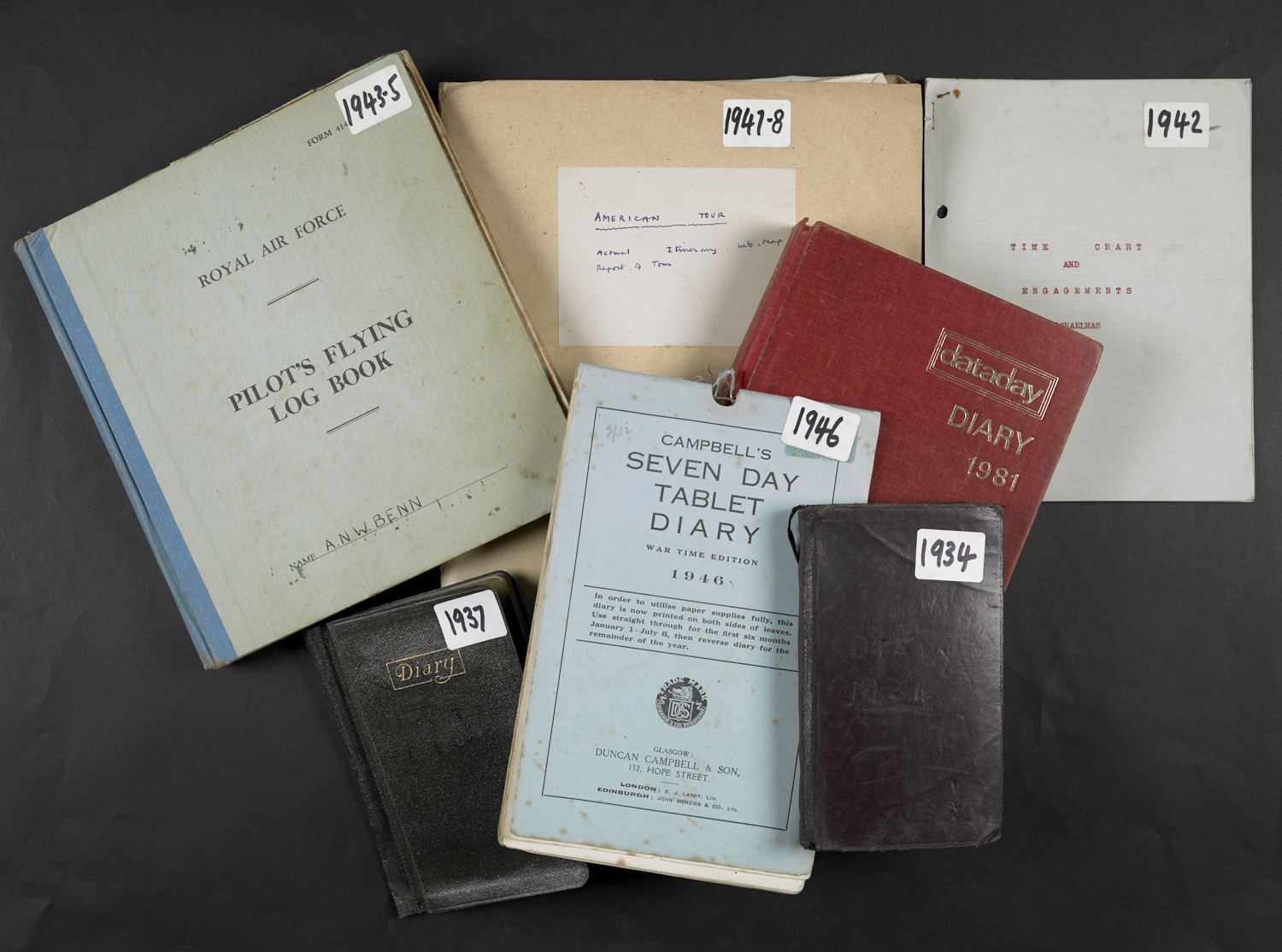 A selection of diaries from the Tony Benn Archive. Photo credit: British Library.