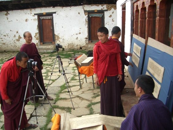 Digitising Buddhist manuscripts held in remote temples in the Himalayan kingdom of Bhutan. Endangered Archives Programme. Photography © Dr Karma Phuntsho