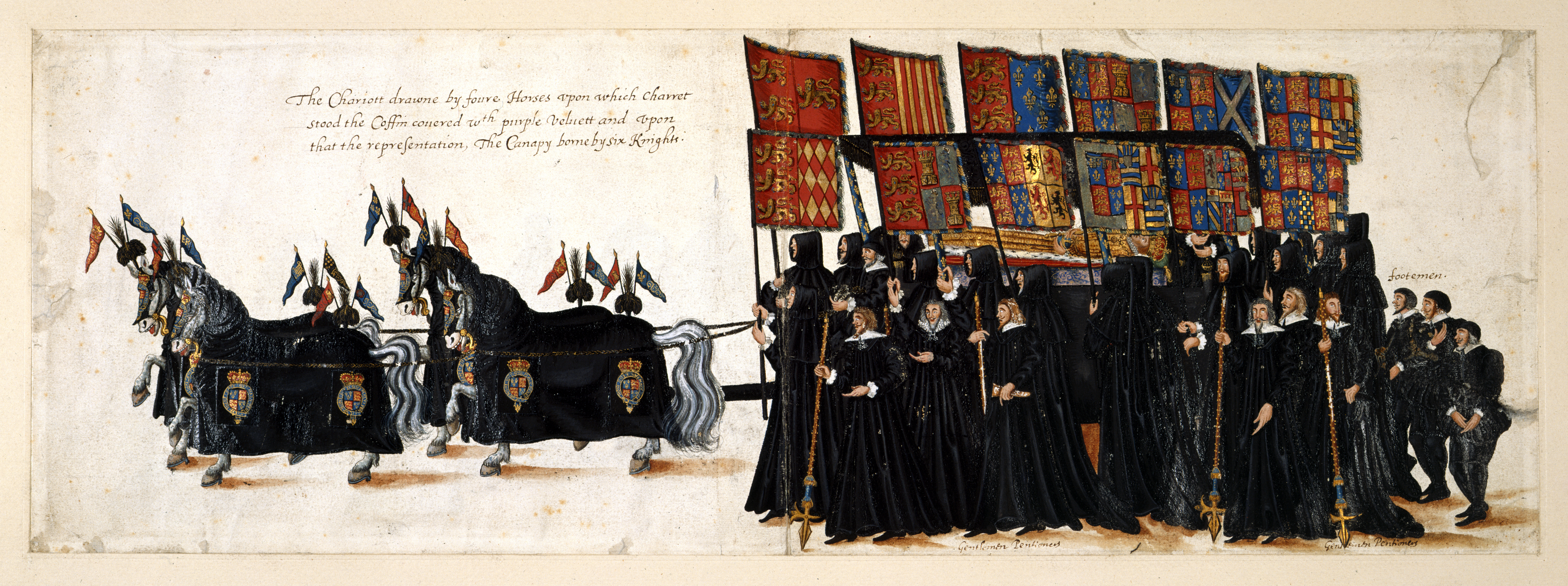 Drawings of the funeral procession of Elizabeth I, British Library