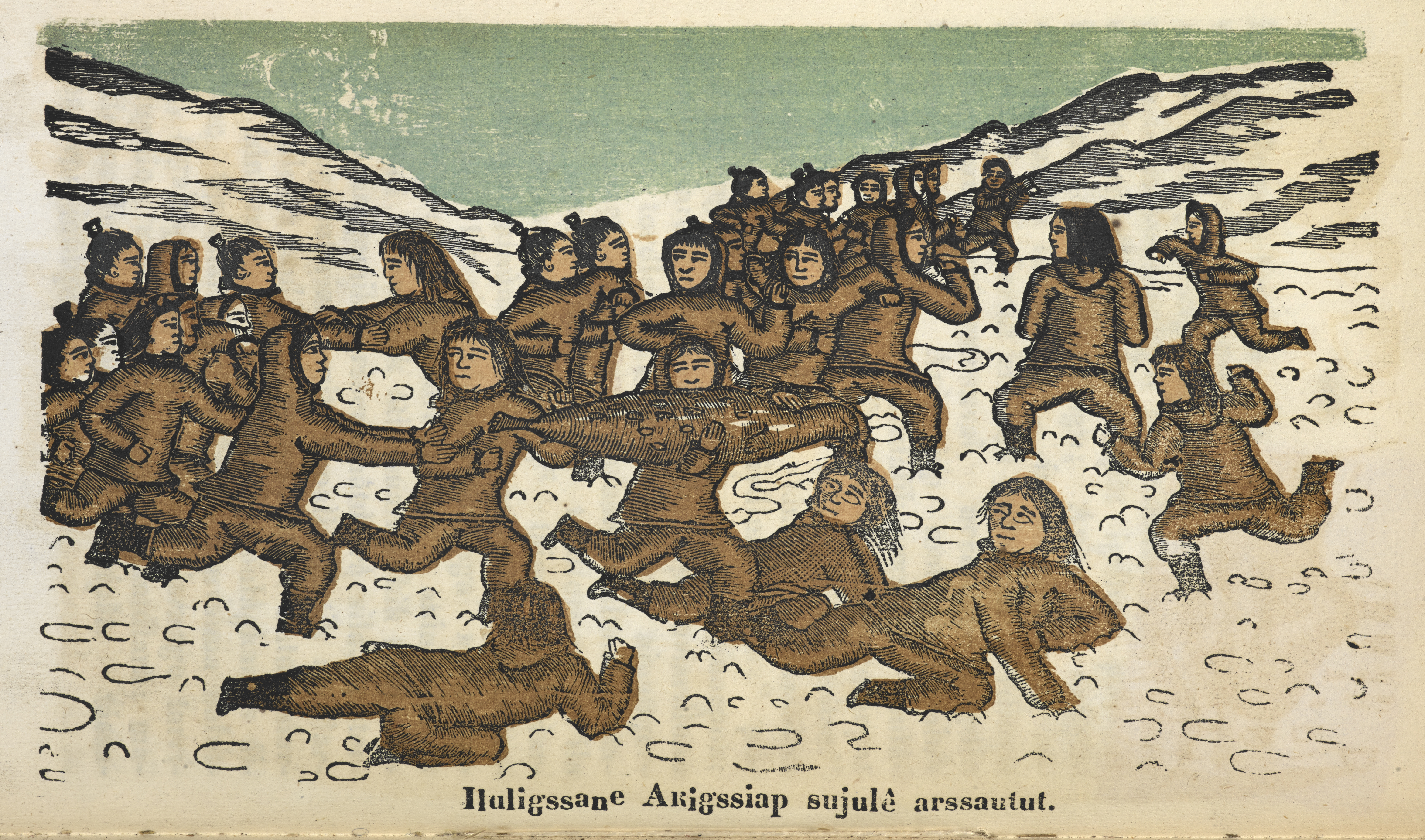 Kaladlit Oklluktualliait [Greenland Legends], Godthaab (1859 - 63) on display in Lines in the Ice - woodcuts of traditional Greenlandic Inuit stories, produced in the 19th century by an indigenous artist. Photography courtesy of the British Library.