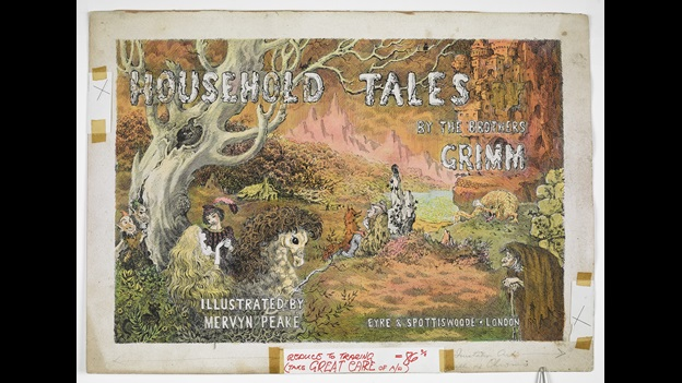 Dust jacket design for Household Tales by the Brothers Grimm. © Estate of Mervyn Peake.