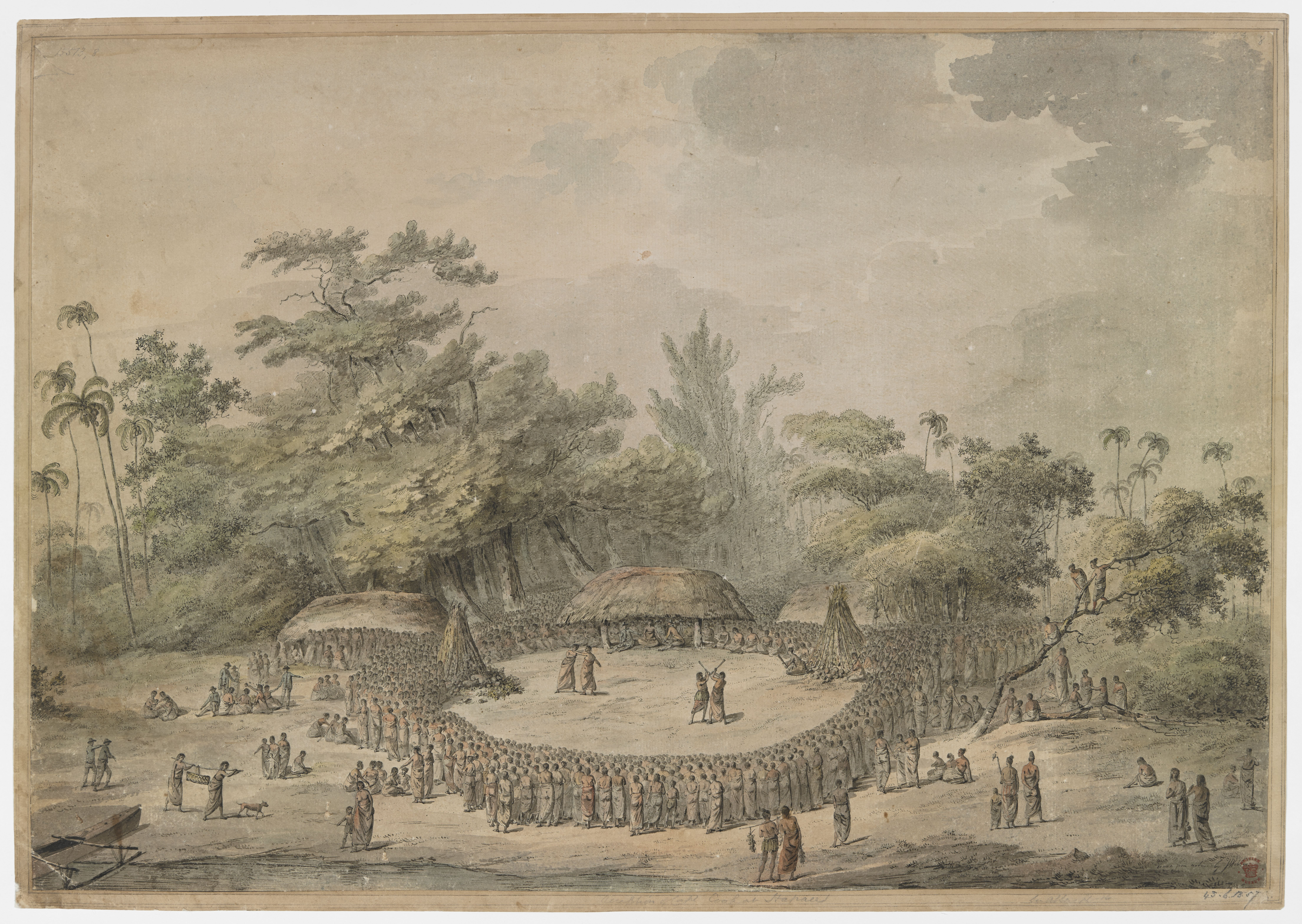 Entertainments at Lifuka on the reception of Captain Cook by John Webber, 1777 (c) British Library Board