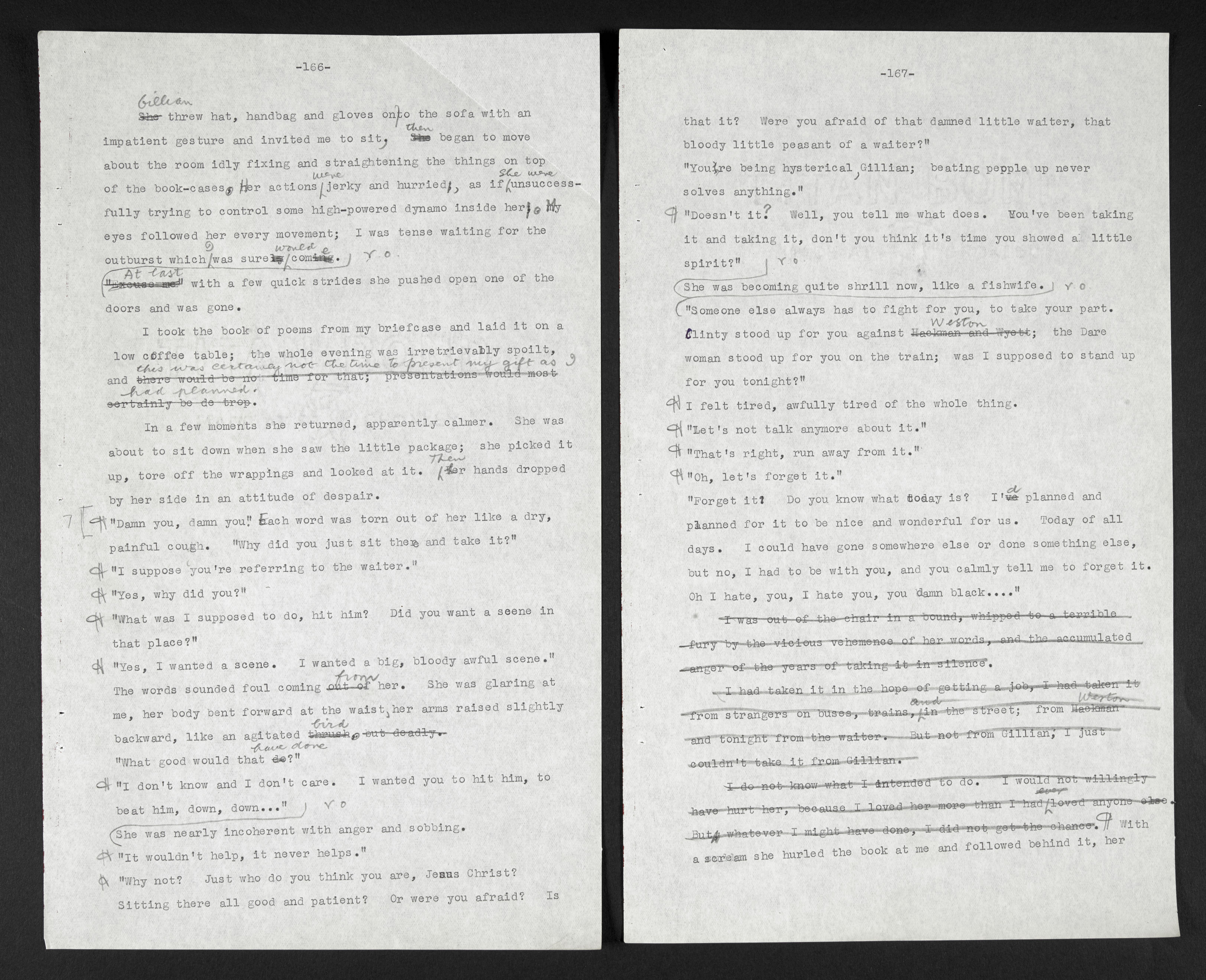 E. R. Braithwaite's typescript of his novel To Sir, With Love (1959) with self-censored lines. ©The Estate of E.R. Braithwaite