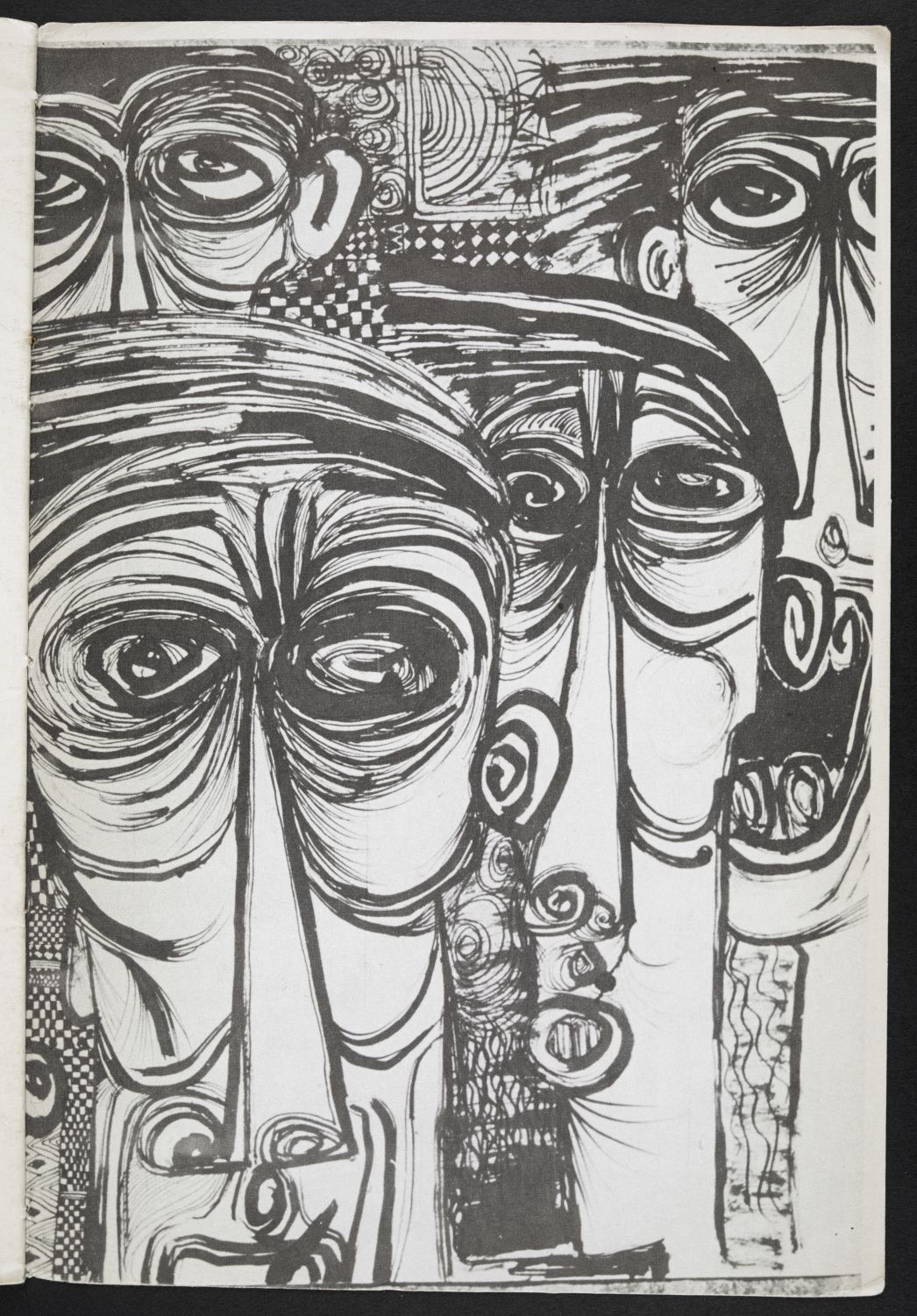 Early artwork by Ibrahim El-Salahi within a 60's Mbari Club pamphlet (c) Ibrahim El-Salahi