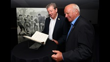 Roy Hodgson and Greg Dyke looking at FA Minute Book in the British Library Treasures Gallery c