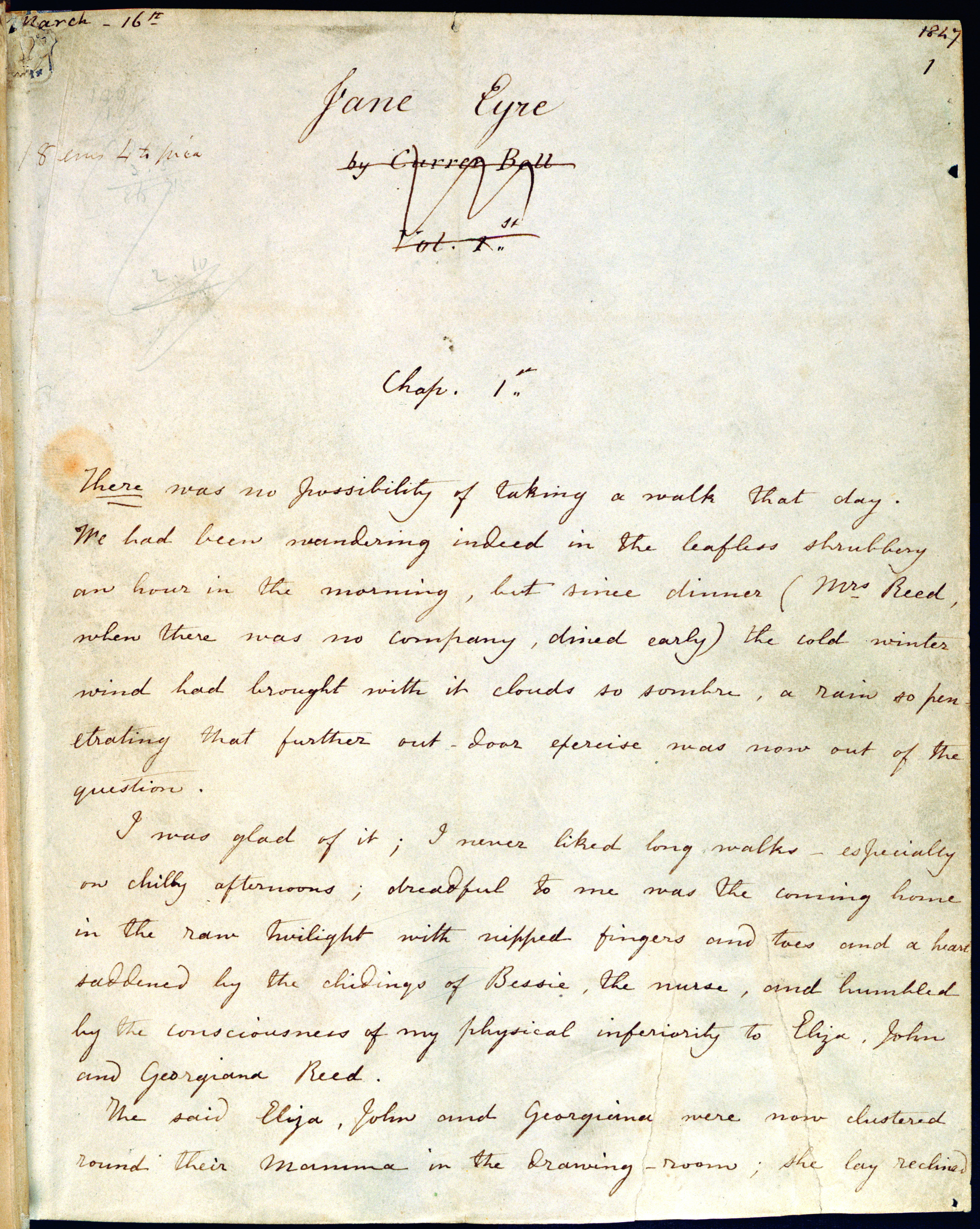 Title page, fair copy manuscript of Charlotte Brontë's Jane Eyre, 1847. Image copyright the British Library Board.