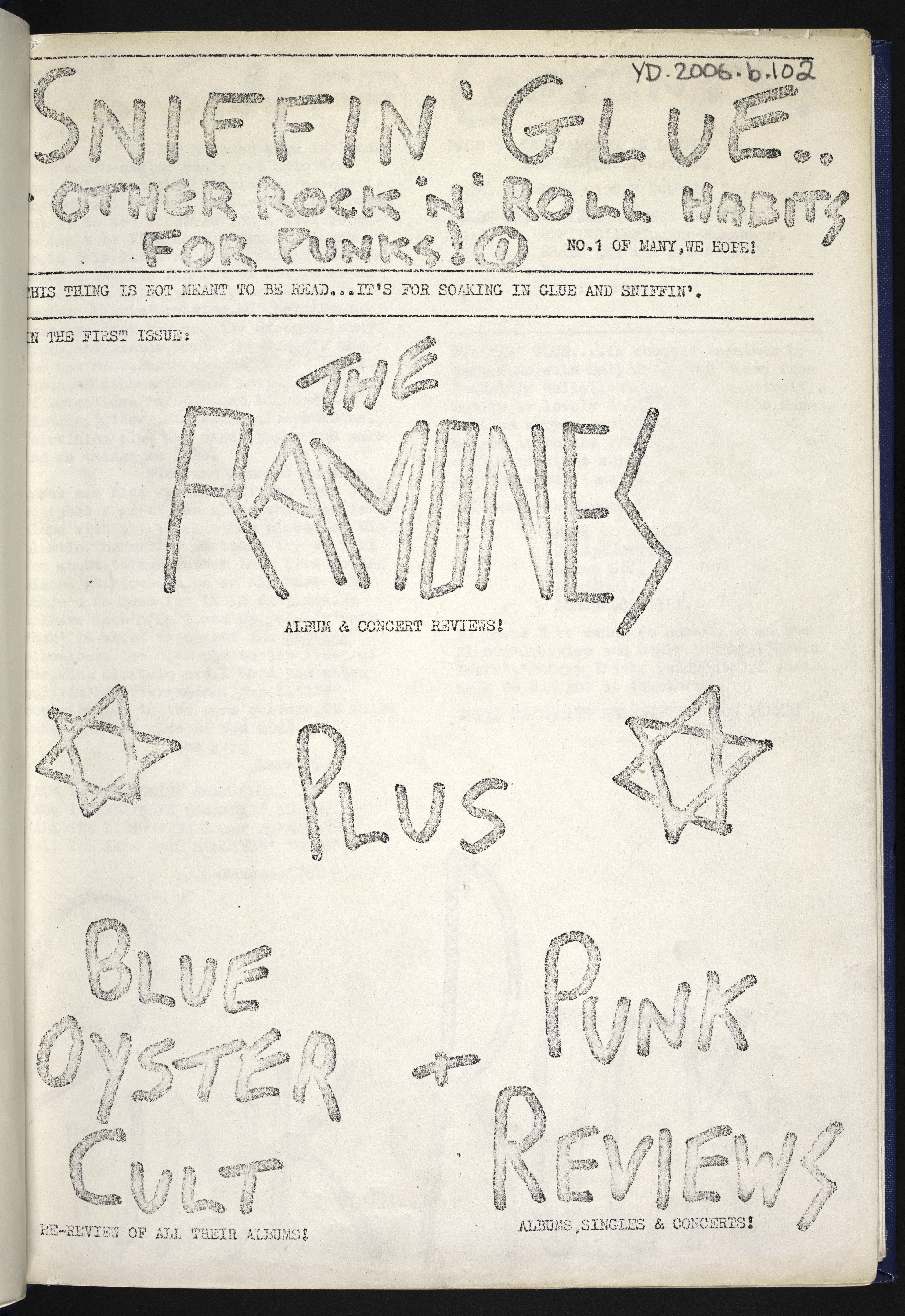 First issue of first punk fanzine Sniffin' Glue, copyright Mark Perry 1976