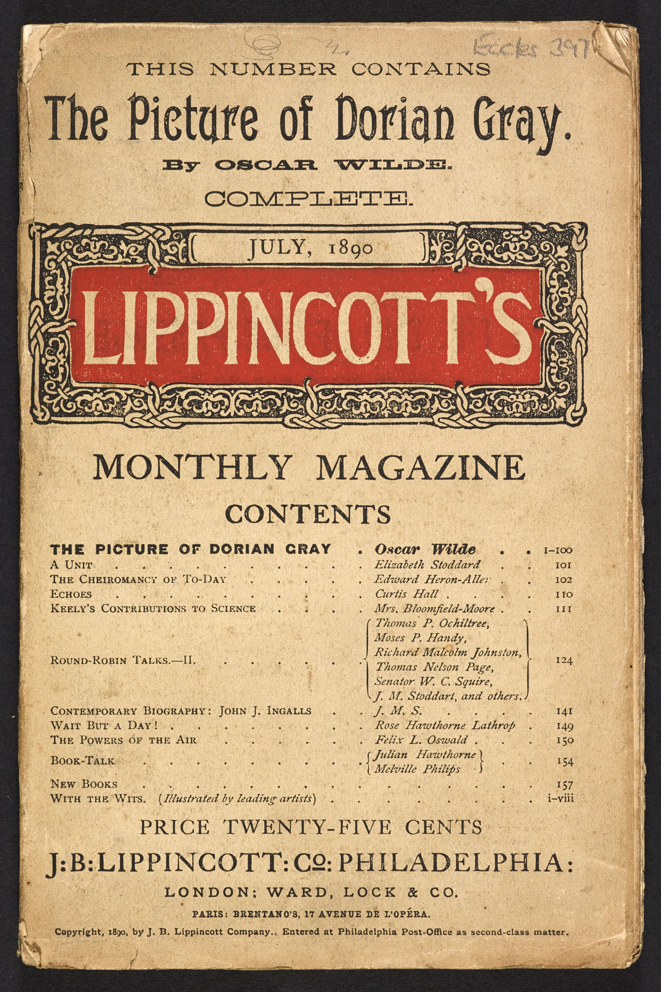 Front cover of Lippincott's Magazine publication of The Picture of Dorian Gray, Oscar Wilde's only novel, July 1890 (c) British Library Board