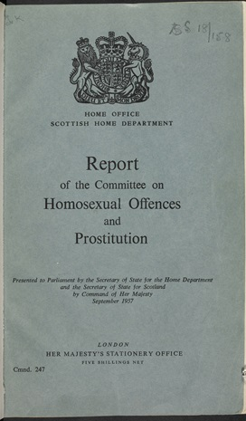 Front cover of the 'Report of the Committee on Homosexual Offences and Prostitution' AKA the Wolfenden Report, dated 1957 (c) British Library Board
