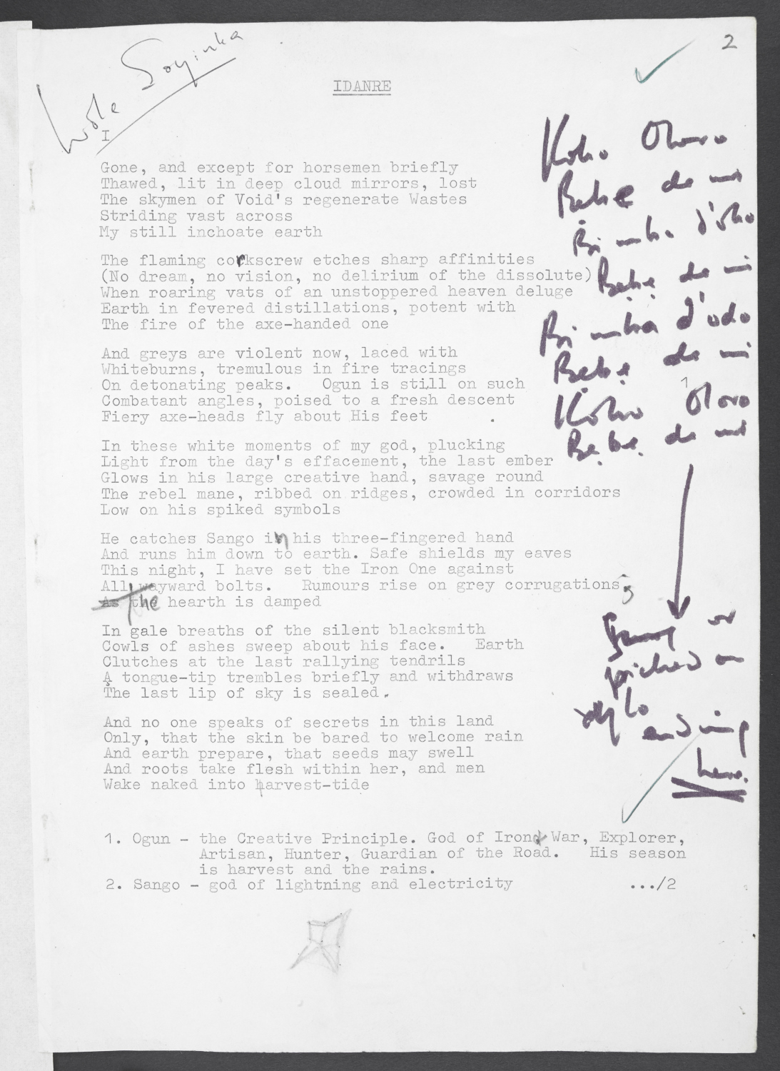 First page of Wole Soyinka's annotated typescript of 'Idanre' poem [1965] (c) Wole Soyinka