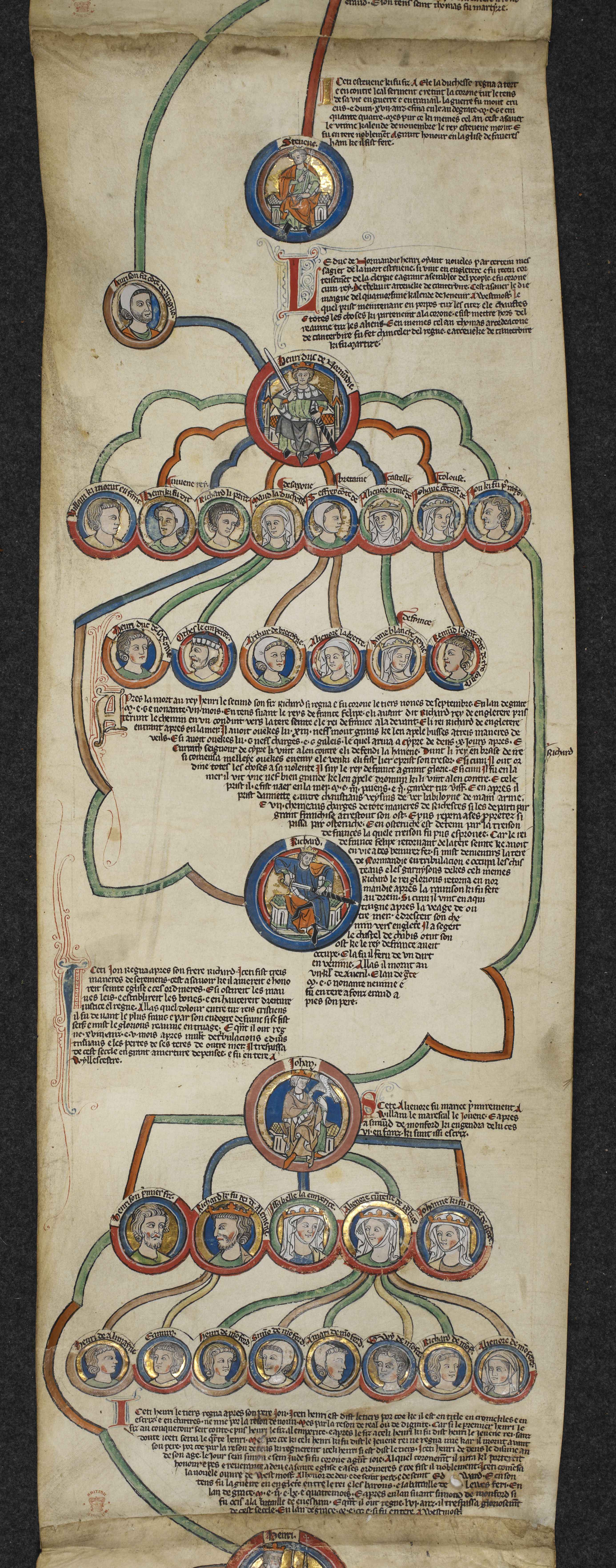 Genealogical chronicle of King John's ancestry, C14, on display in Magna Carta: Law, Liberty, Legacy. Photography © British Library