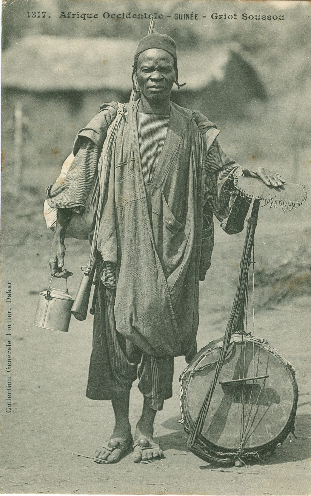 This image shows a griot (musician and storyteller) with his kora (calabash harp). It is the work of Edmond Fortier, a French photographer who spent nearly 30 years working in West Africa, mainly Senegal, in the early 20th century. The photograph will be displayed in West Africa: Word, Symbol, Song at the British Library. Courtesy of Daniela Moreau/Acervo África/São Paulo-Brazil.
