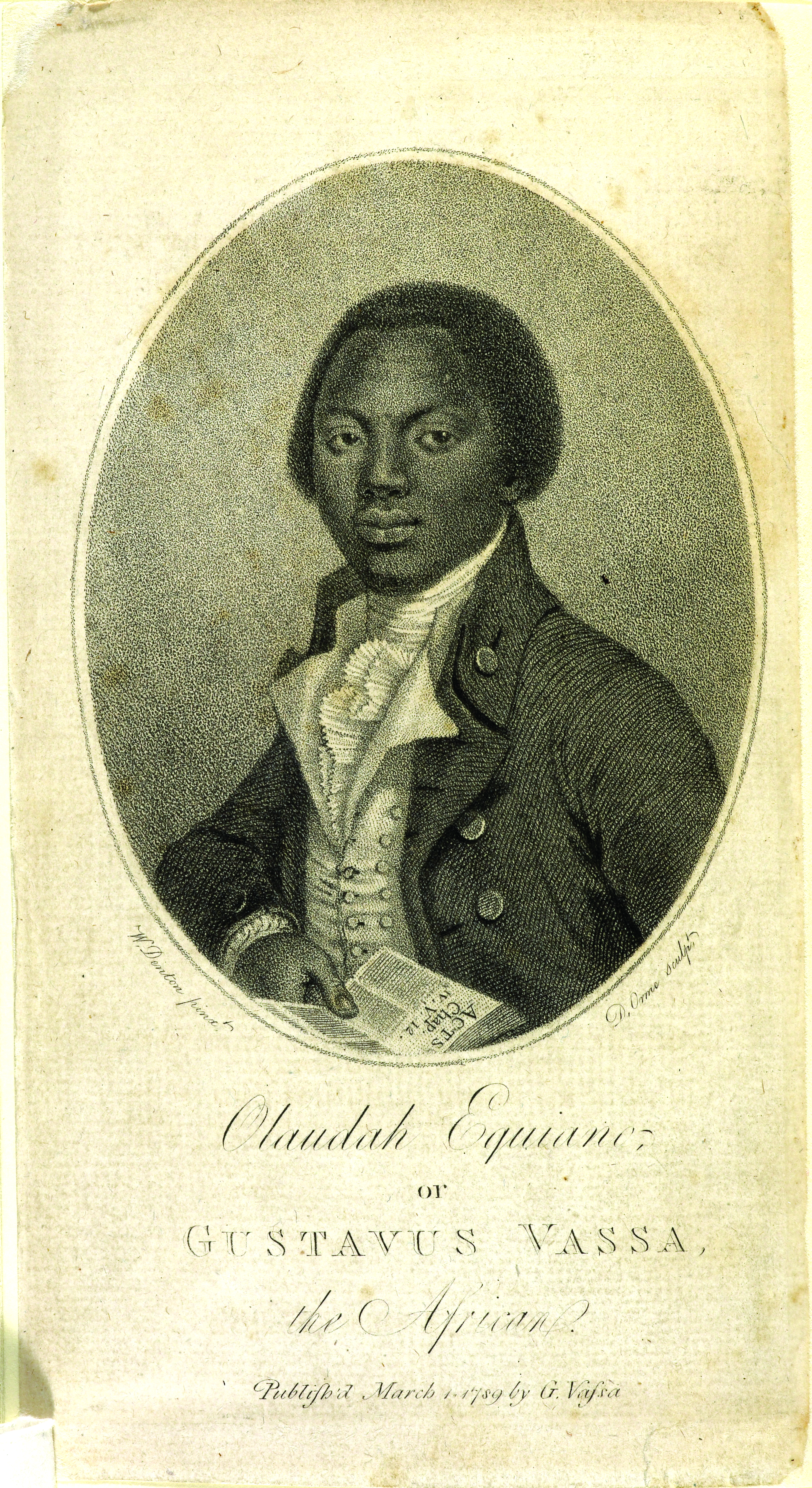 Portrait of Olaudah Equiano (c. 1745–97), also known as Gustavus Vassa, the most famous 18th-century British writer of African heritage, from his autobiography (1789) on display in West Africa: Word, Symbol, Song at the British Library. Photography courtesy of the British Library.
