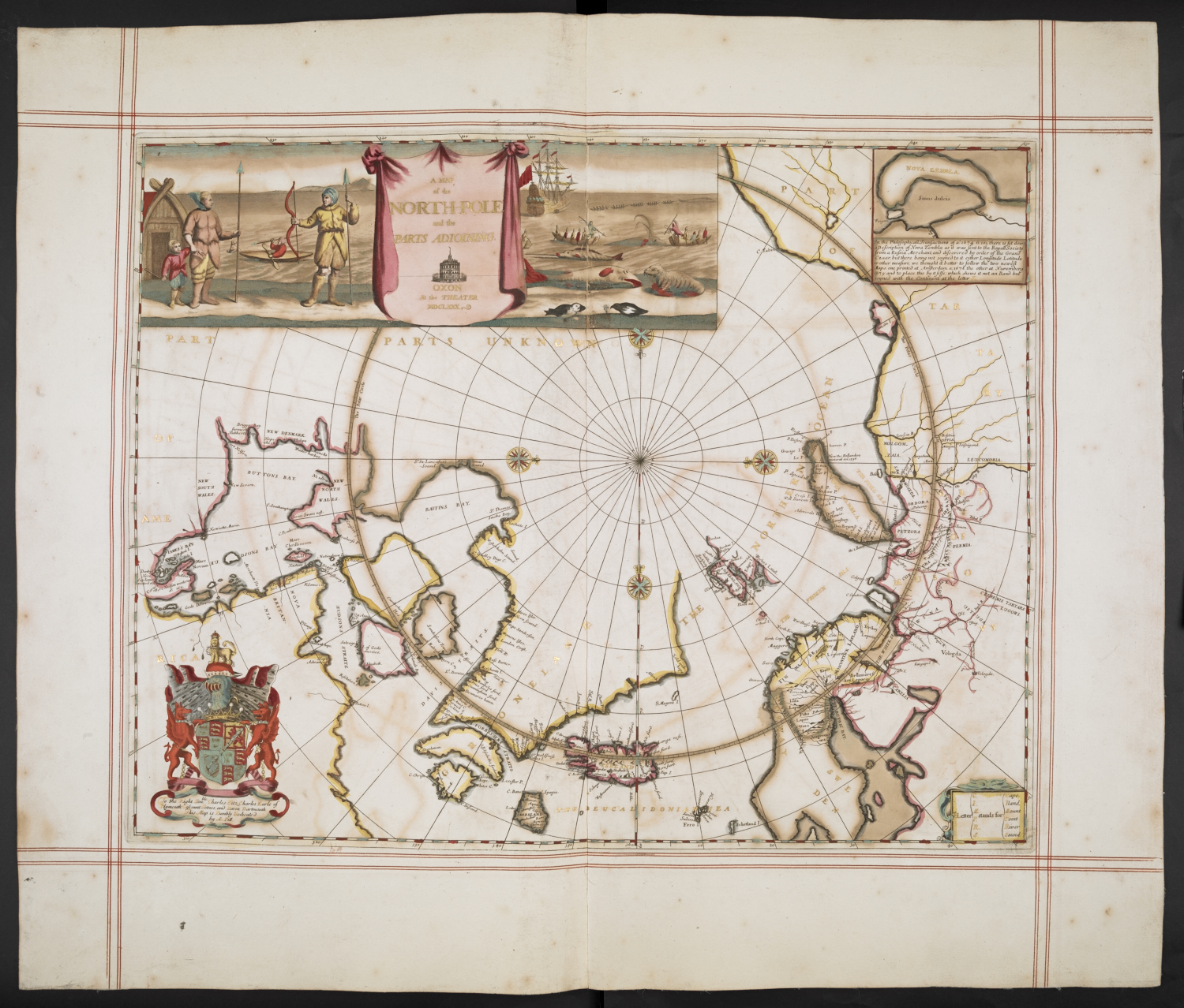 'A map of the North Pole and parts adjoining', Moses Pitt, from The English Atlas (1680) - the personal atlas of King Charles II. Photograph courtsey of the British Library.