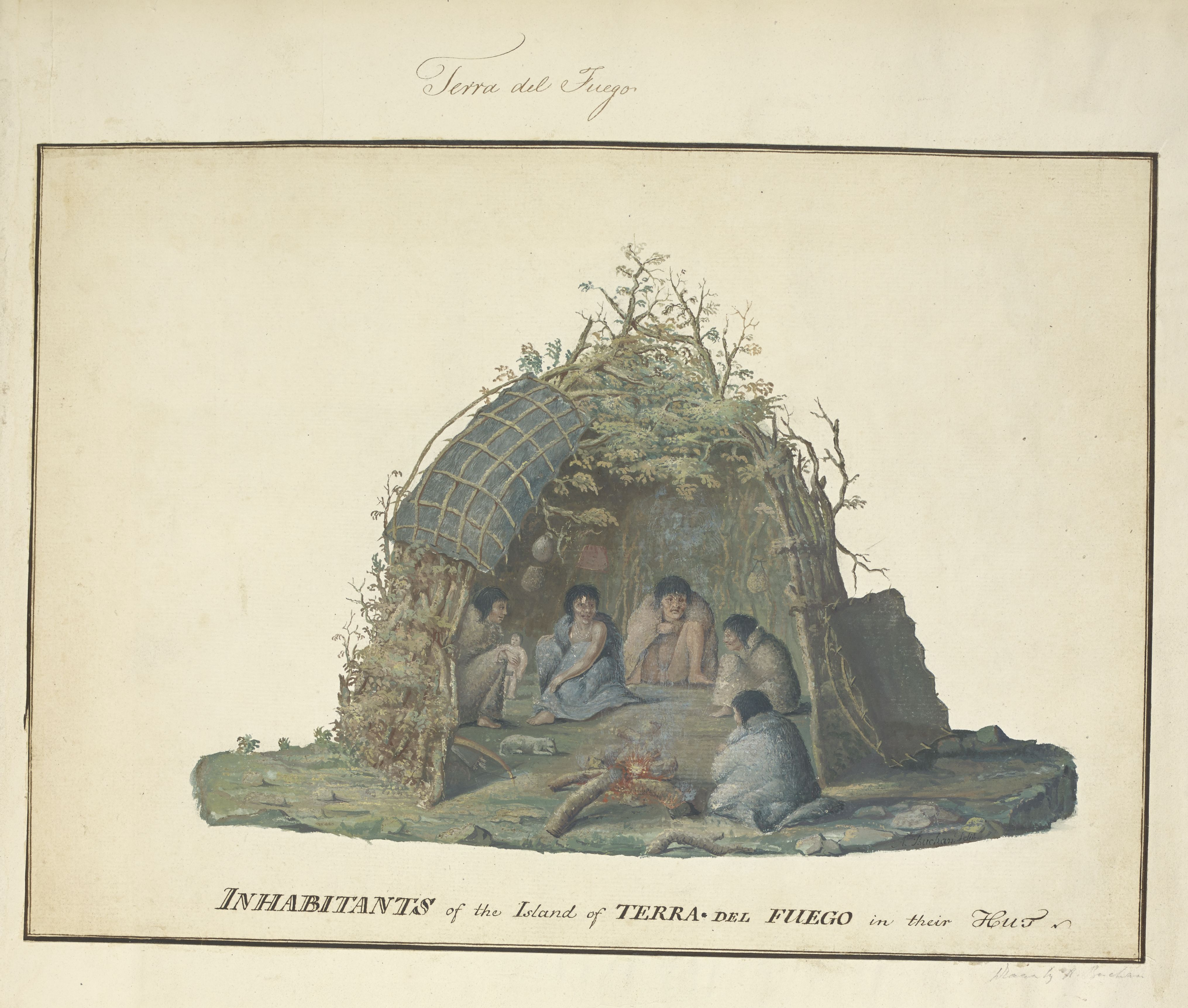 'Inhabitants of the Island of Terra del Fuego in their Hut' by Alexander Buchan, 1769 (c) British Library Board