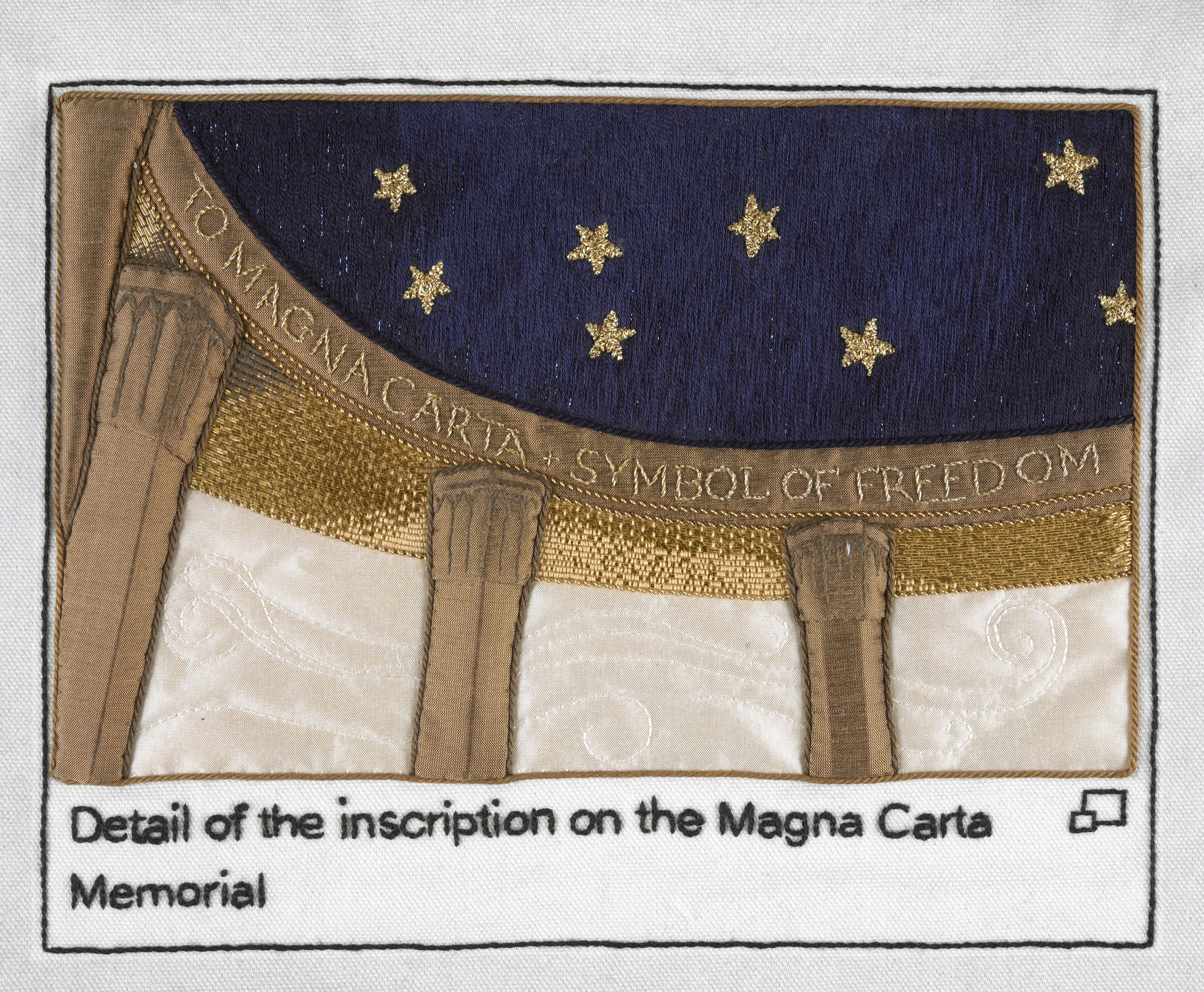 Inscription on the Magna Carta Memorial stitched by Pippa Foulds, Embroiderers' Guild (Yorkshire and The Humber Region). Part of Cornelia Parker's Magna Carta (An Embroidery) at the British Library.