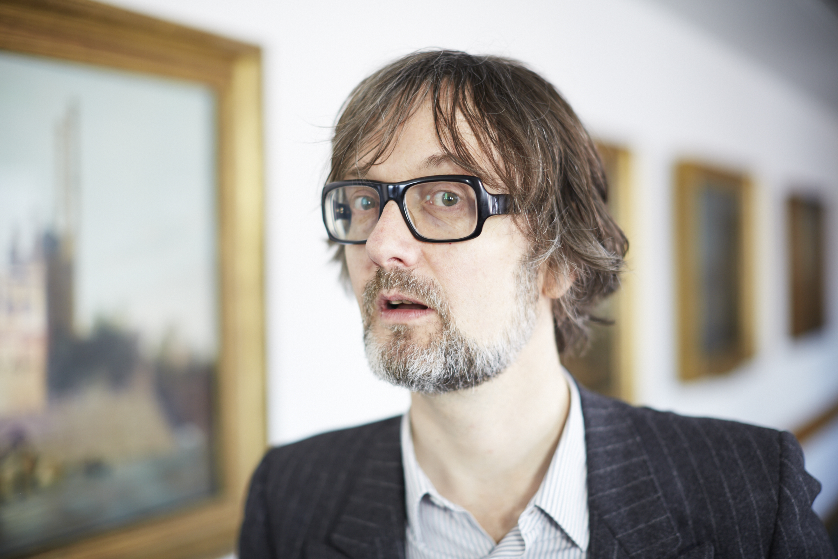 Jarvis Cocker, who stitched 'Common People' on Cornelia Parker's Magna Carta (An Embroidery). Photography by Joseph Turp.